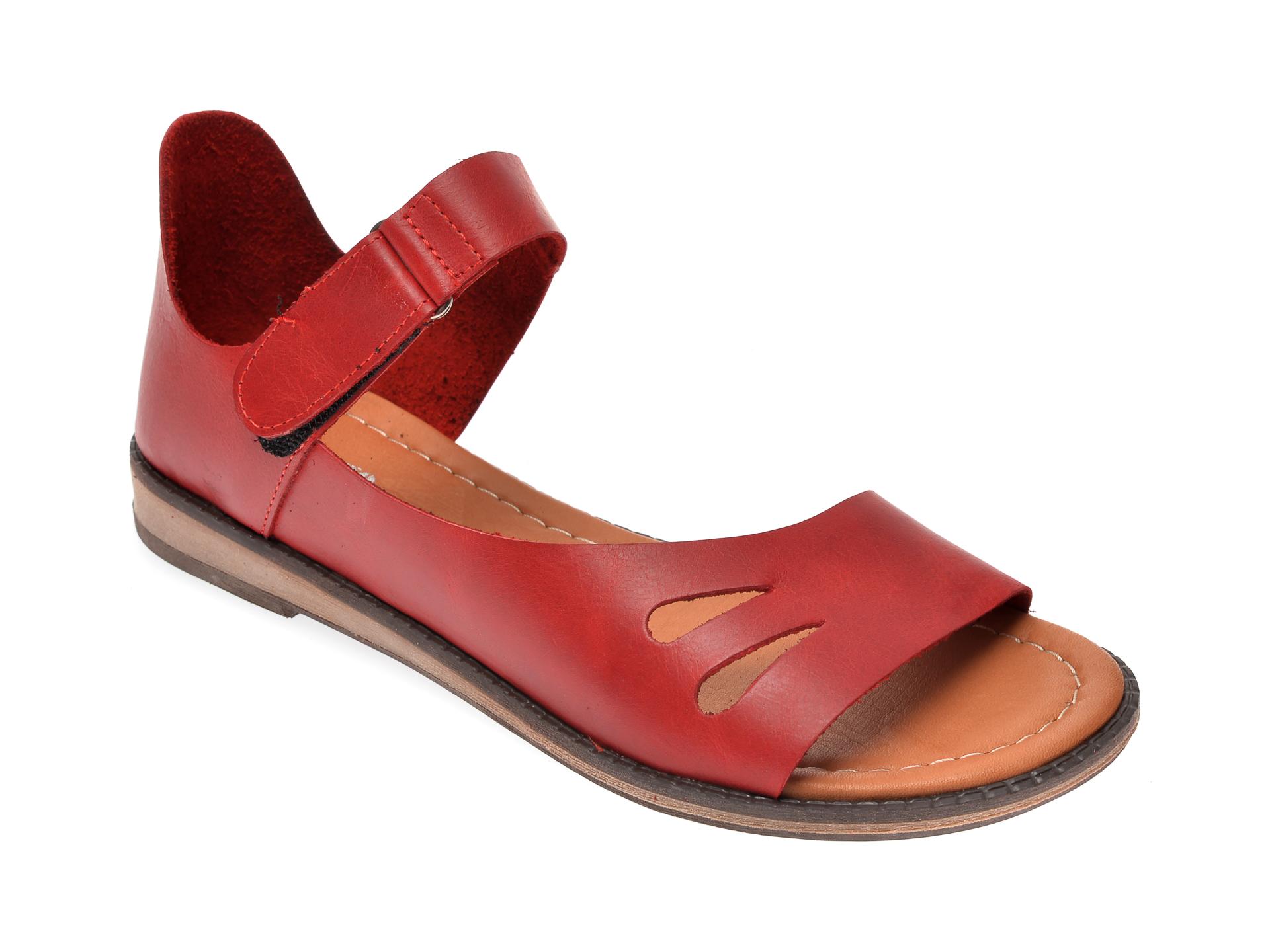 Sandale IMAGE rosii, 118, din piele naturala imagine