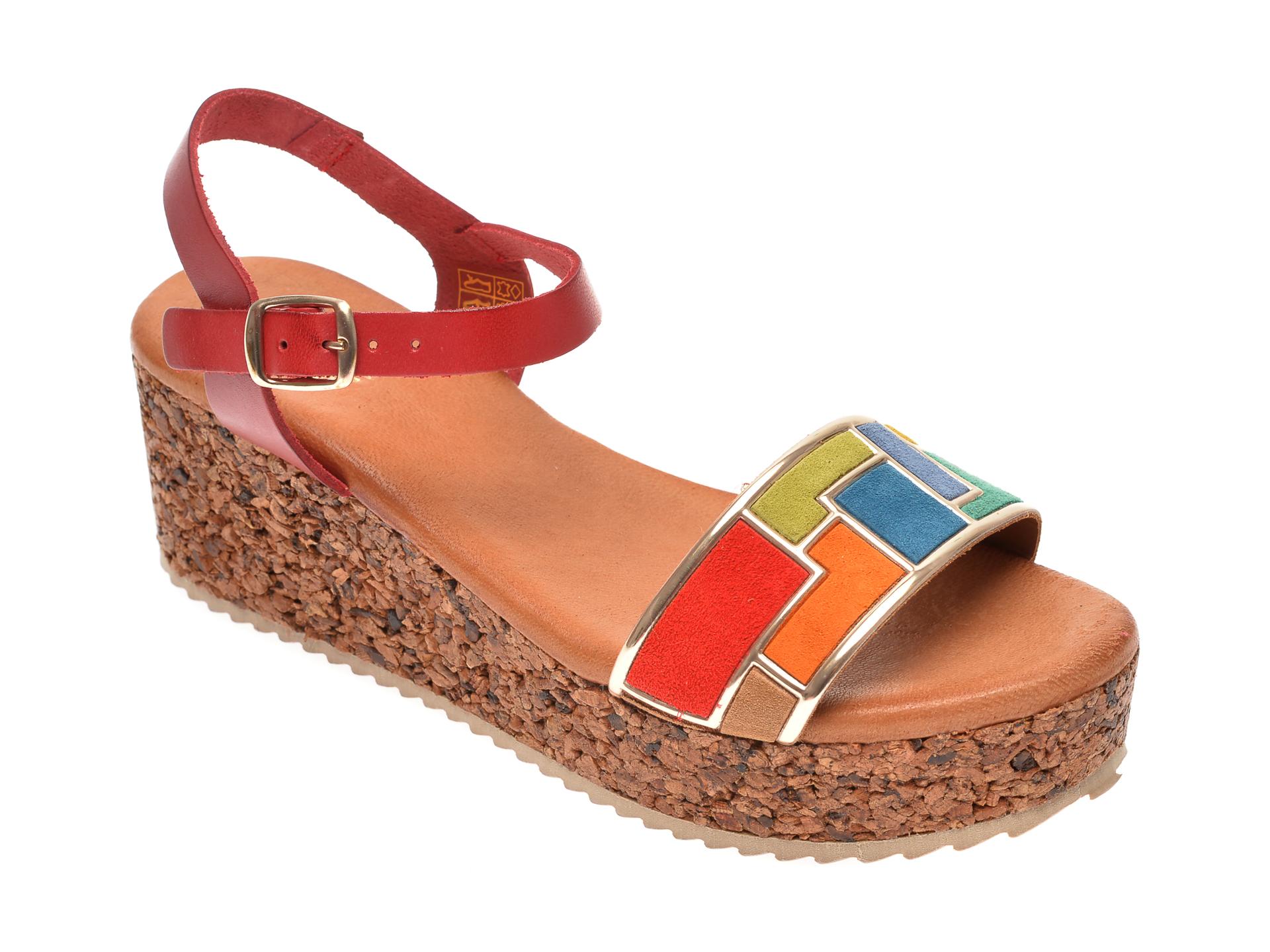 Sandale IMAGE rosii, 54082, din piele naturala