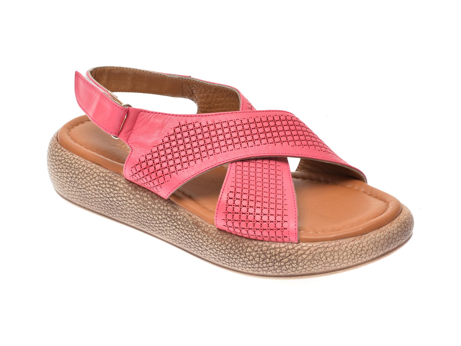 Sandale IMAGE roz, 6025, din piele naturala imagine