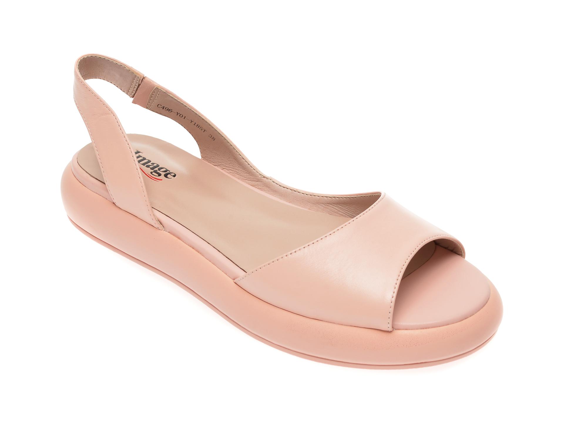 Sandale IMAGE roz, C496Y01, din piele naturala imagine