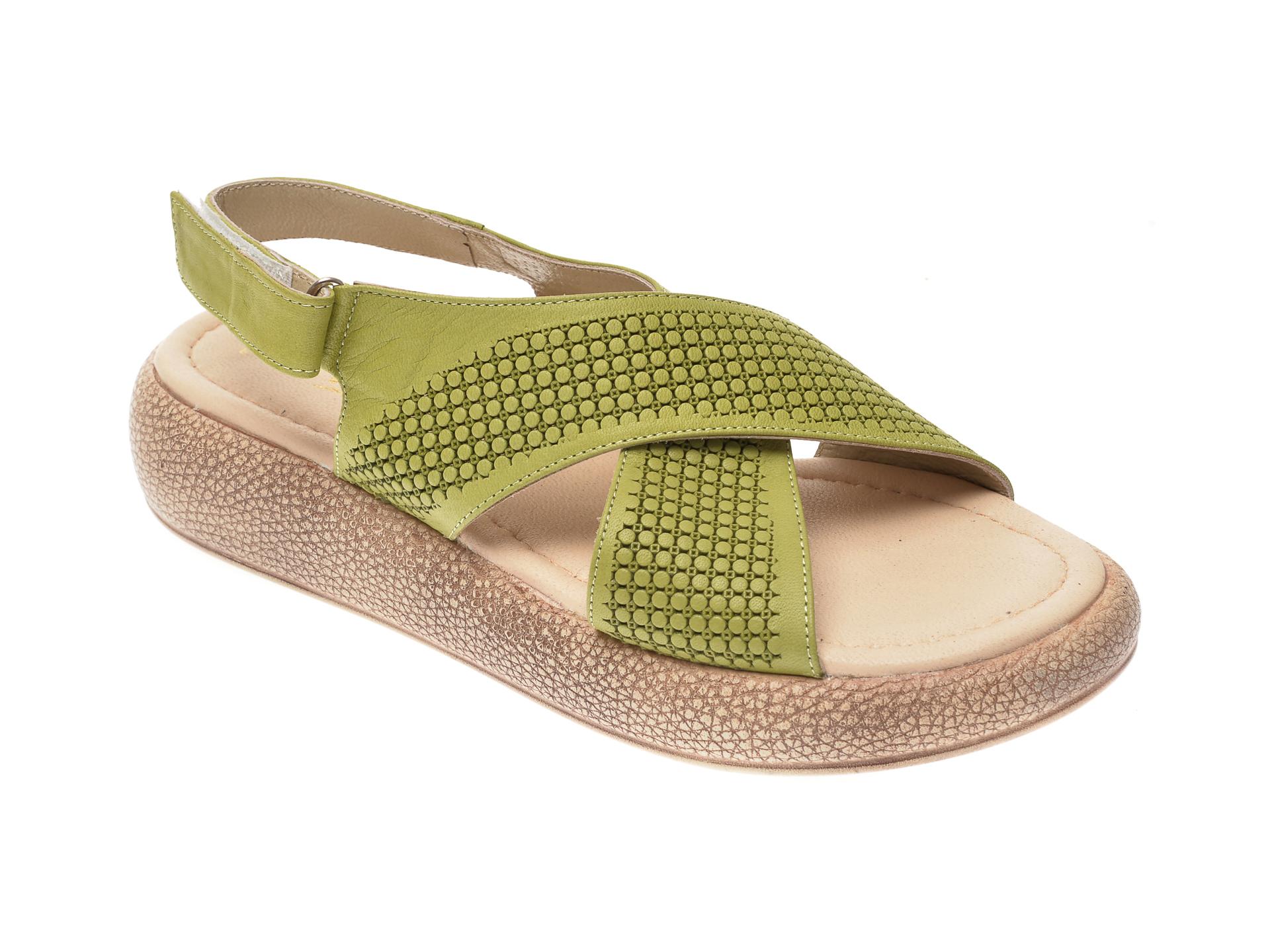 Sandale IMAGE verzi, 6025, din piele naturala imagine
