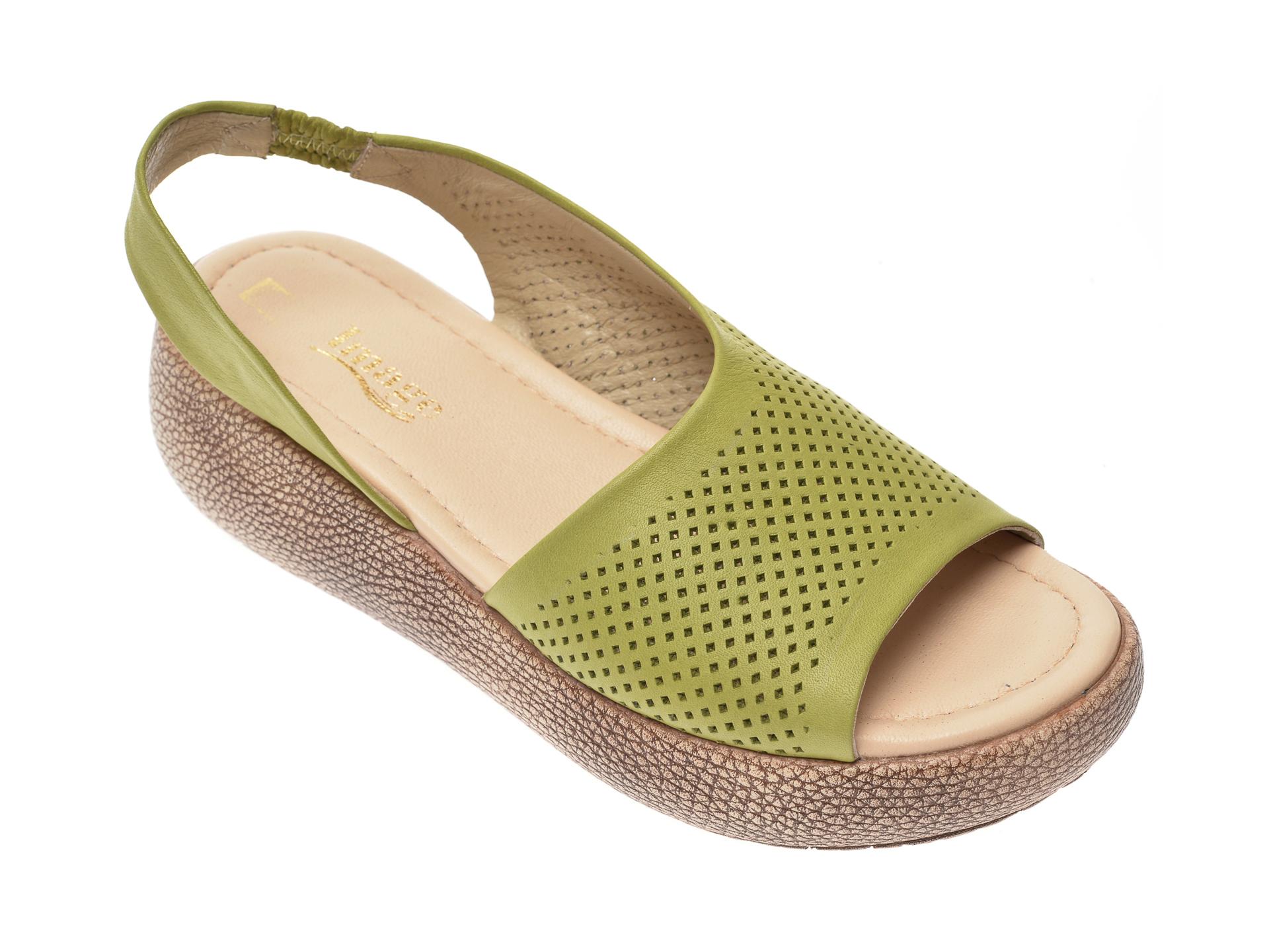 Sandale IMAGE verzi, 6033, din piele naturala imagine