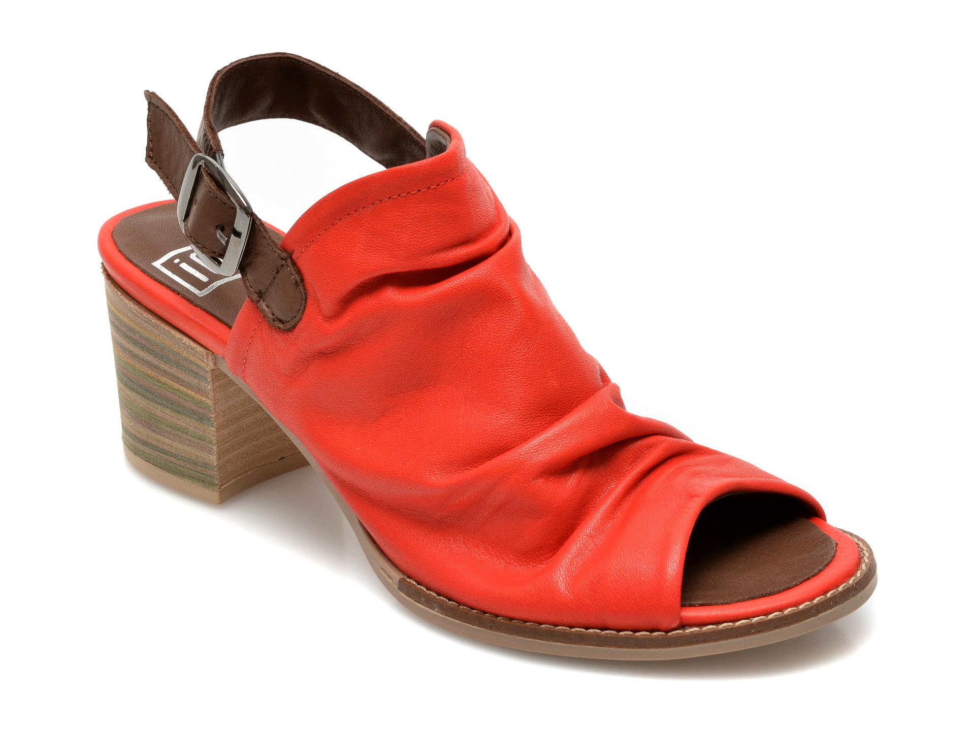 Sandale IOU rosii, 1702, din piele naturala imagine otter.ro 2021