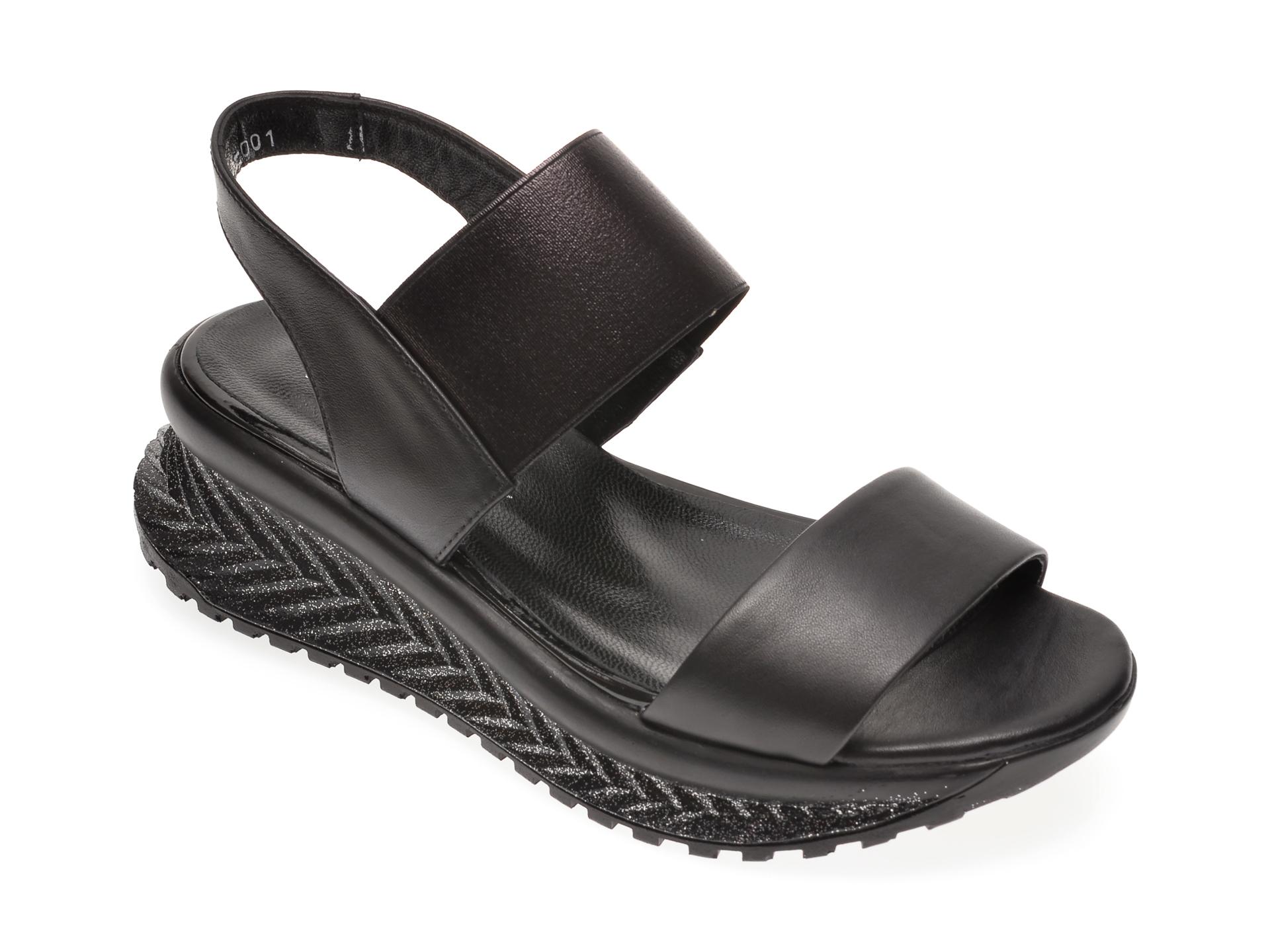 Sandale LE BERDE negre, 57500M5, din piele naturala