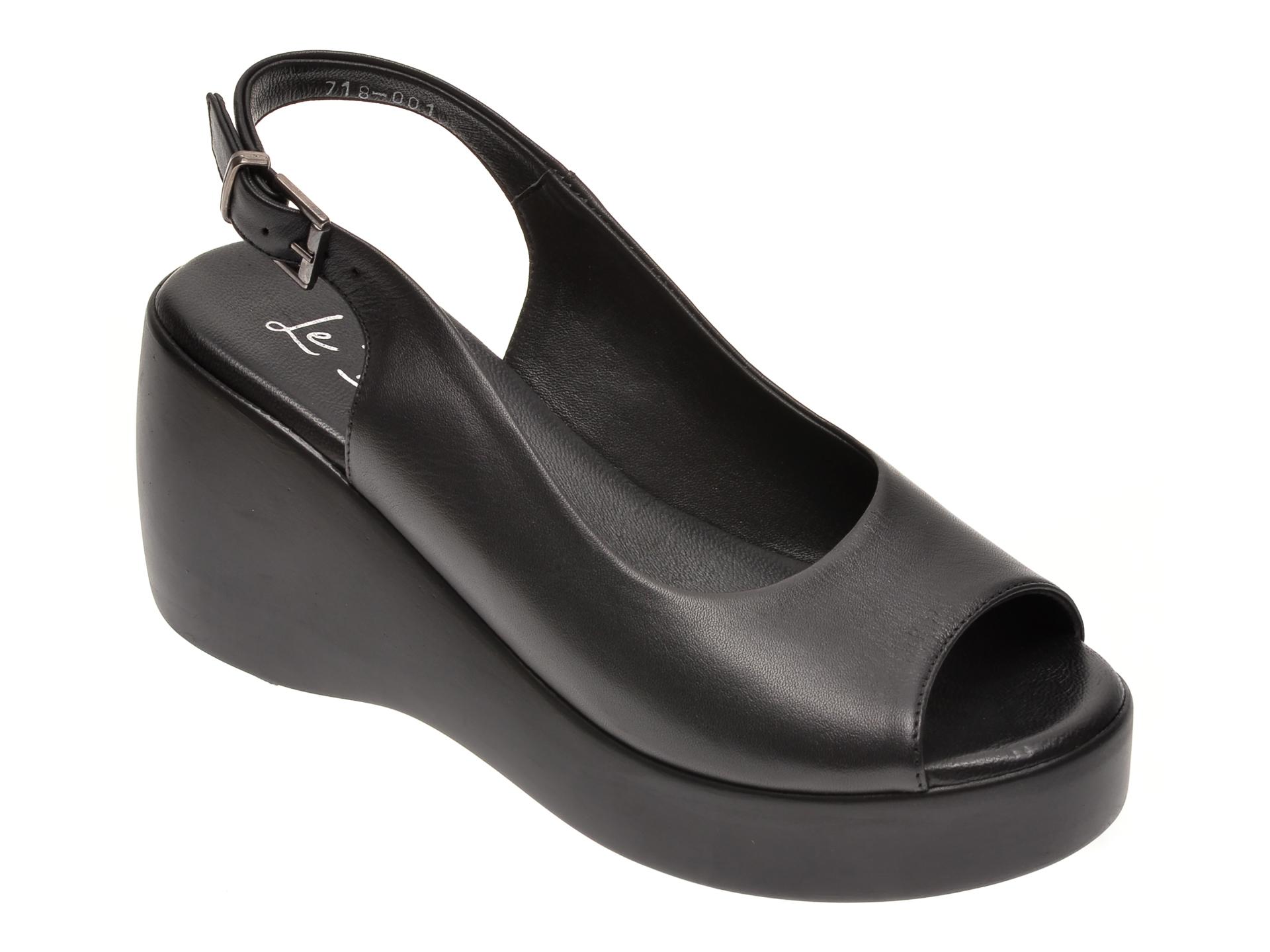 Sandale LE BERDE negre, 71800M5, din piele naturala