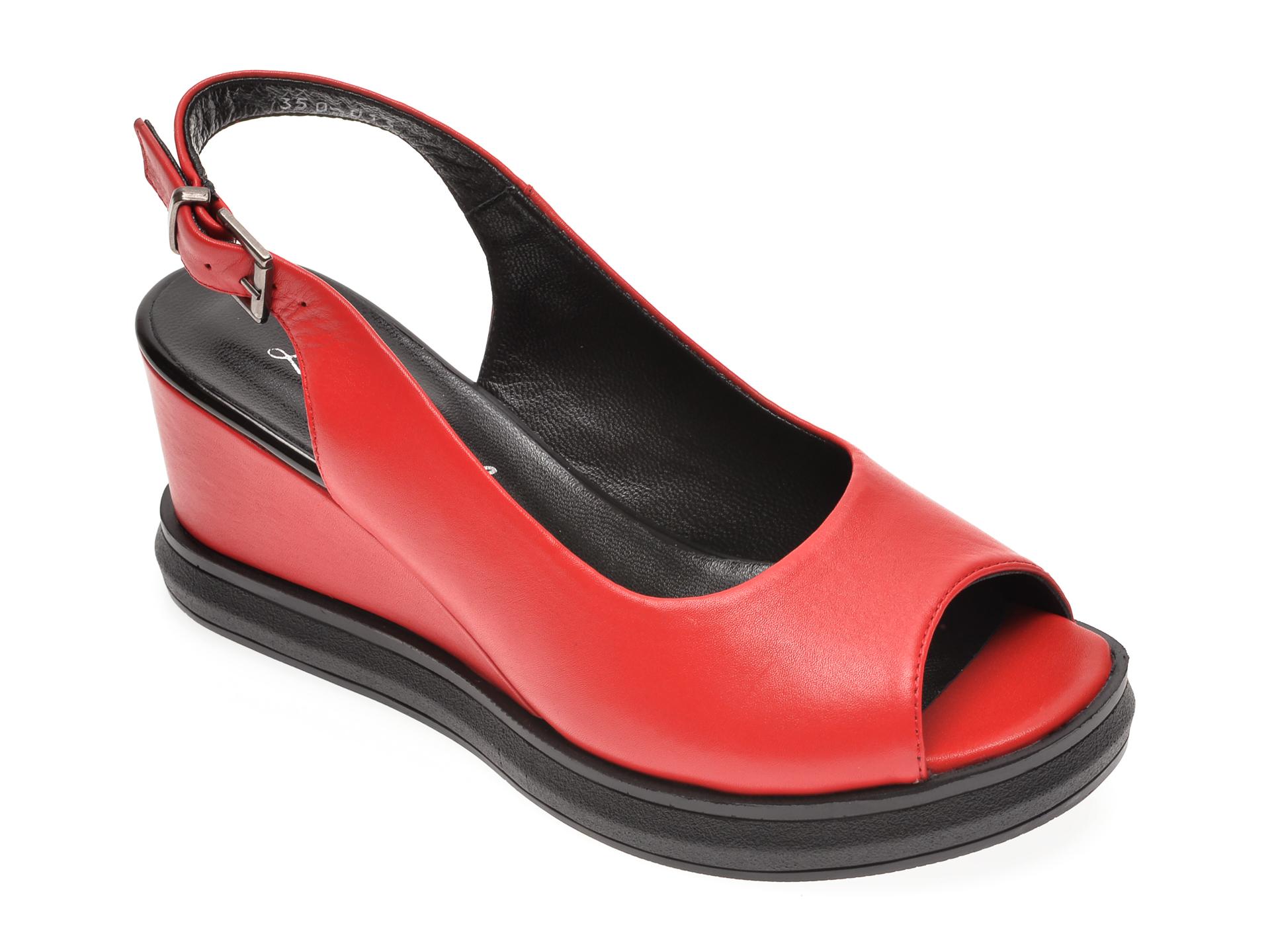 Sandale LE BERDE rosii, 35000M5, din piele naturala
