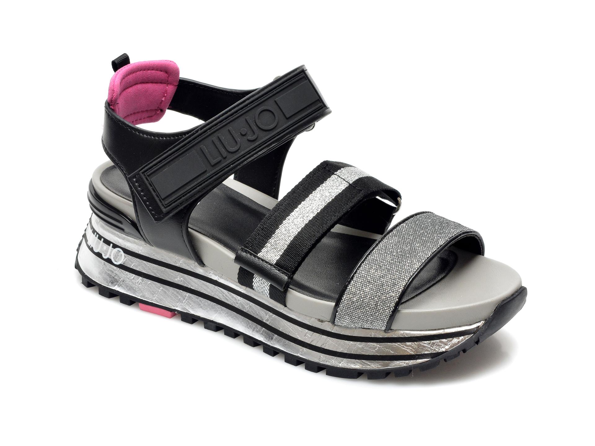 Sandale LIU JO argintii, Maxi Wonder Sandal , din material textil si piele ecologica imagine otter.ro