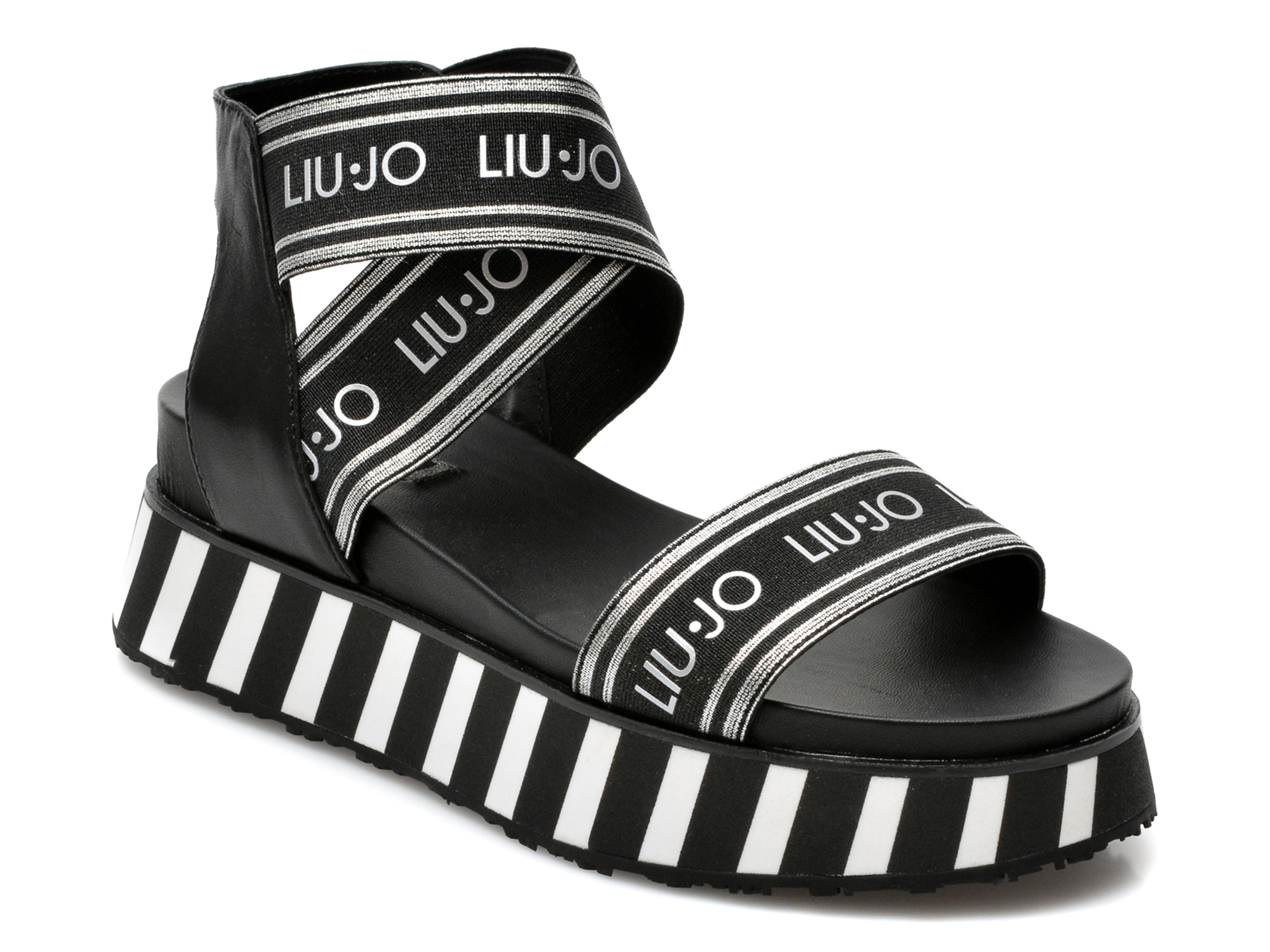 Sandale LIU JO negre, Frida 1, din material textil si piele naturala