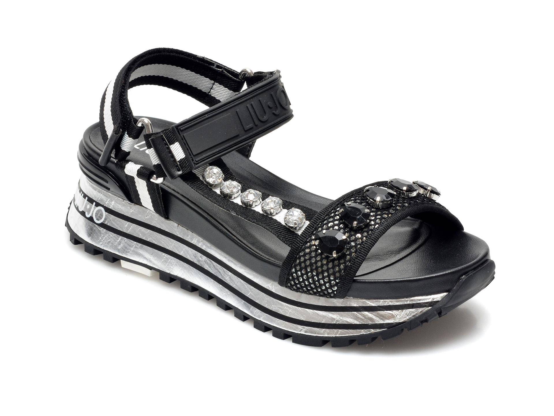 Sandale LIU JO negre, Maxi Wonder Sandal 10, din material textil