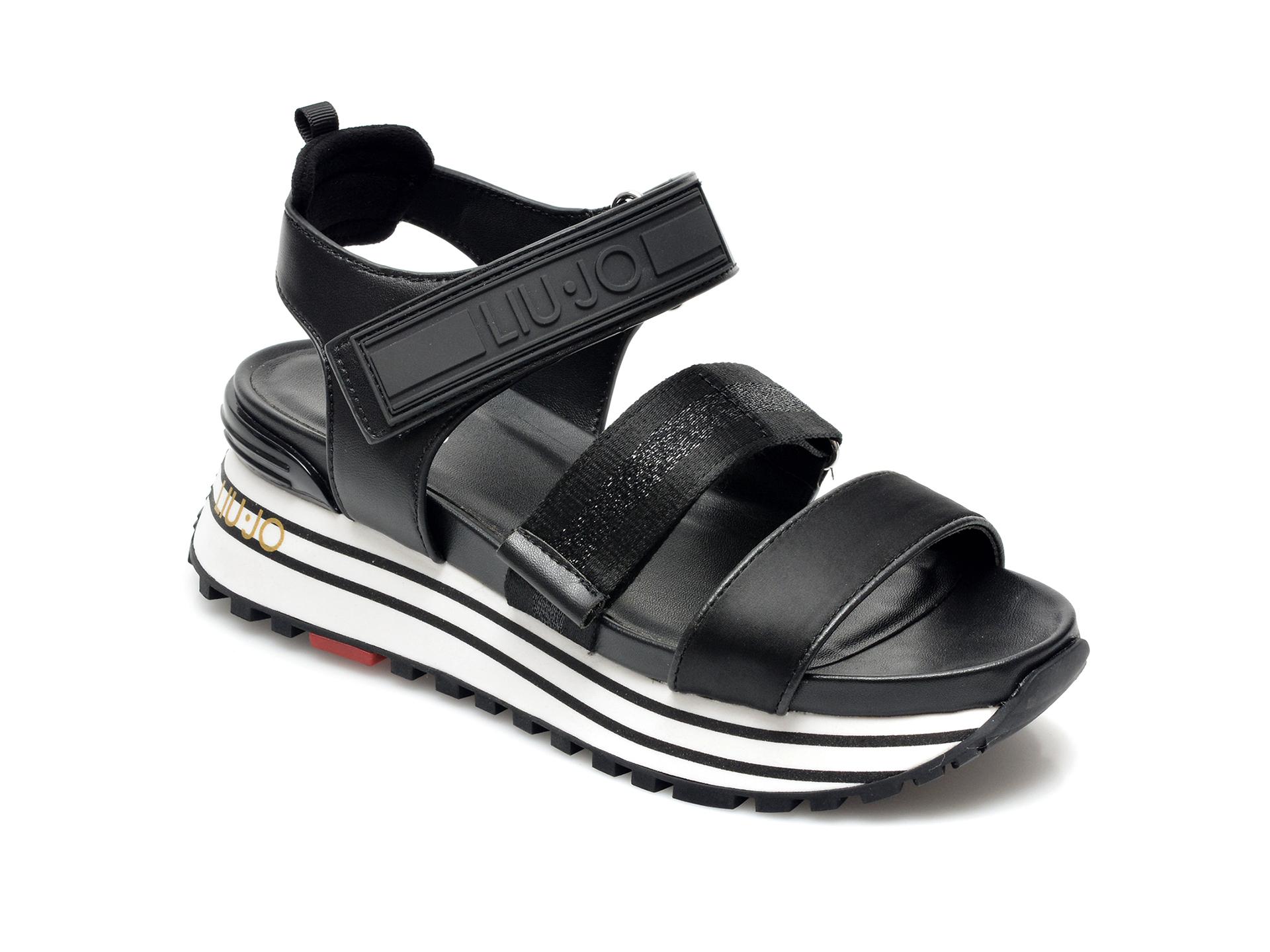 Sandale LIU JO negre, Maxi Wonder Sandal 7, din material textil si piele ecologica