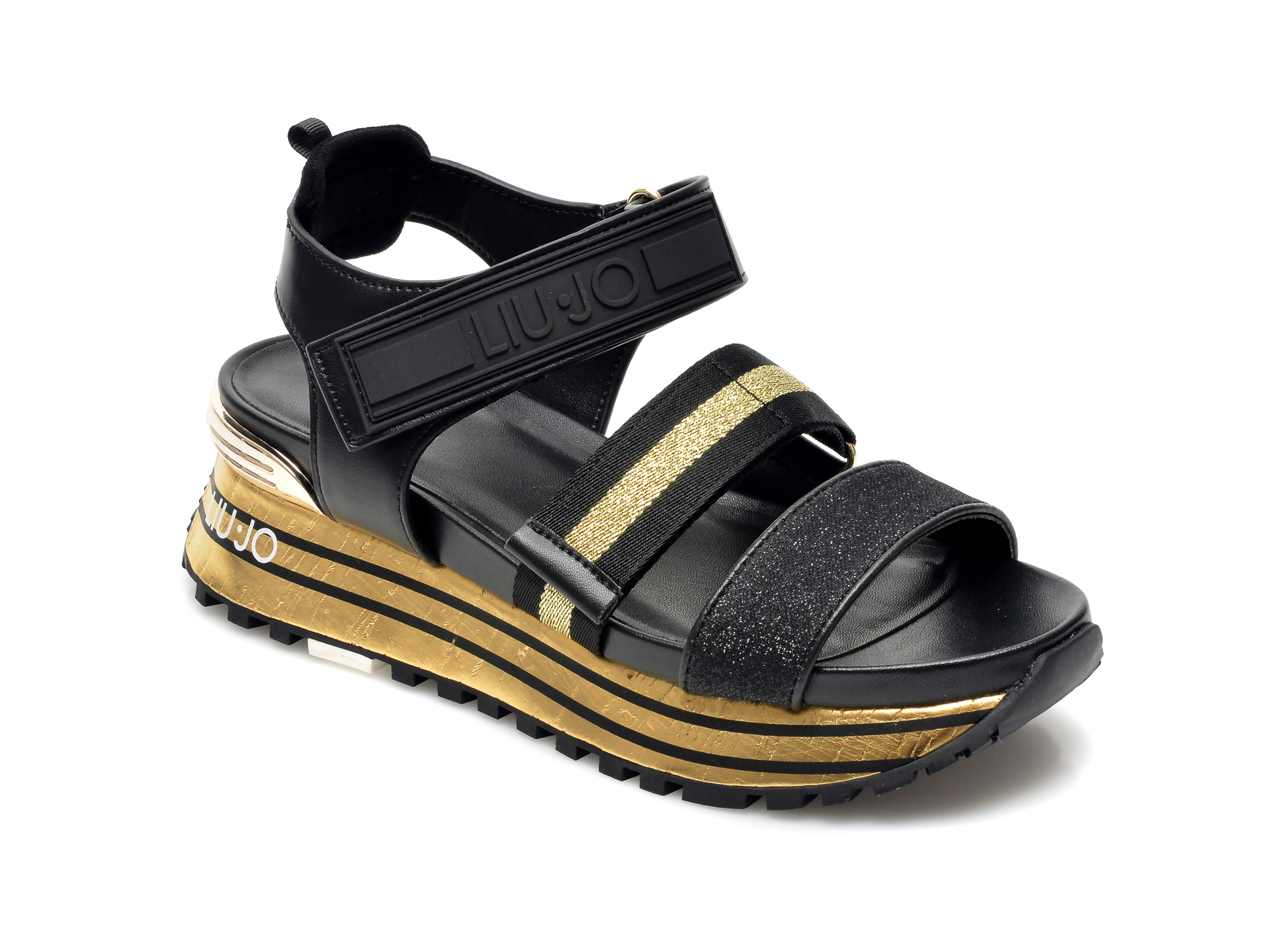 Sandale LIU JO negre, Maxi Wonder Sandal , din material textil si piele ecologica