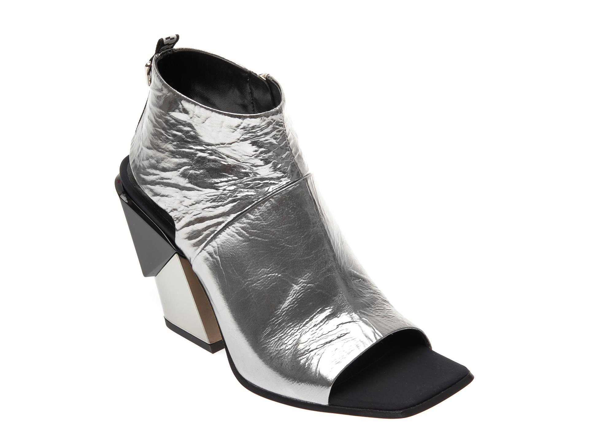 Sandale LORIBLU argintii, 9624, din piele naturala