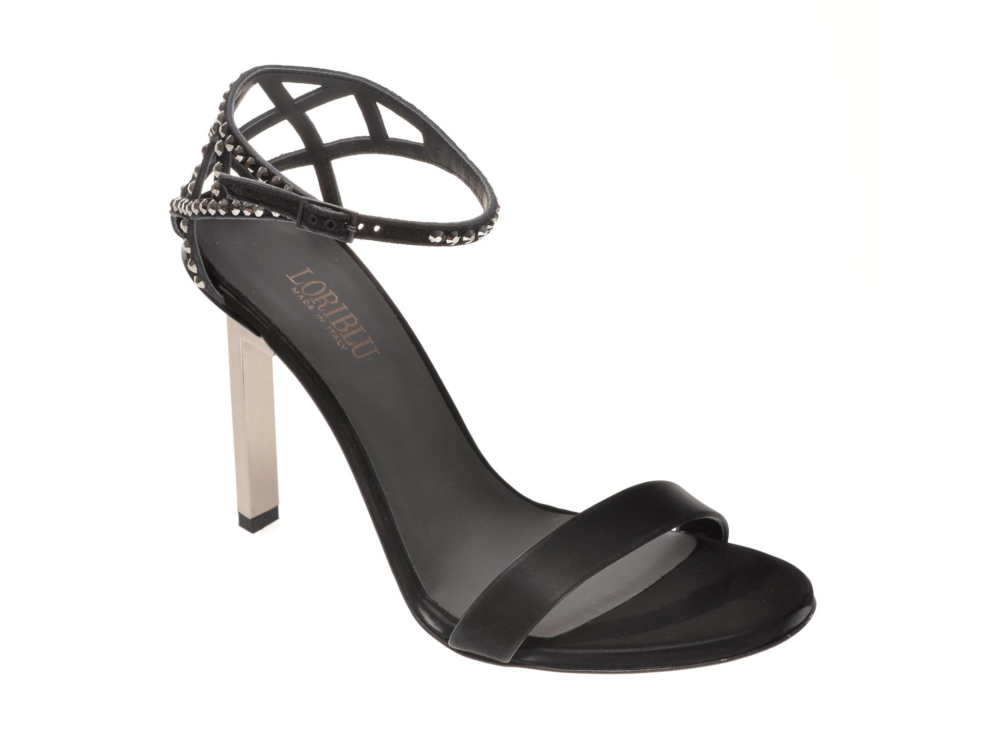 Sandale LORIBLU negre, I10028, din material textil