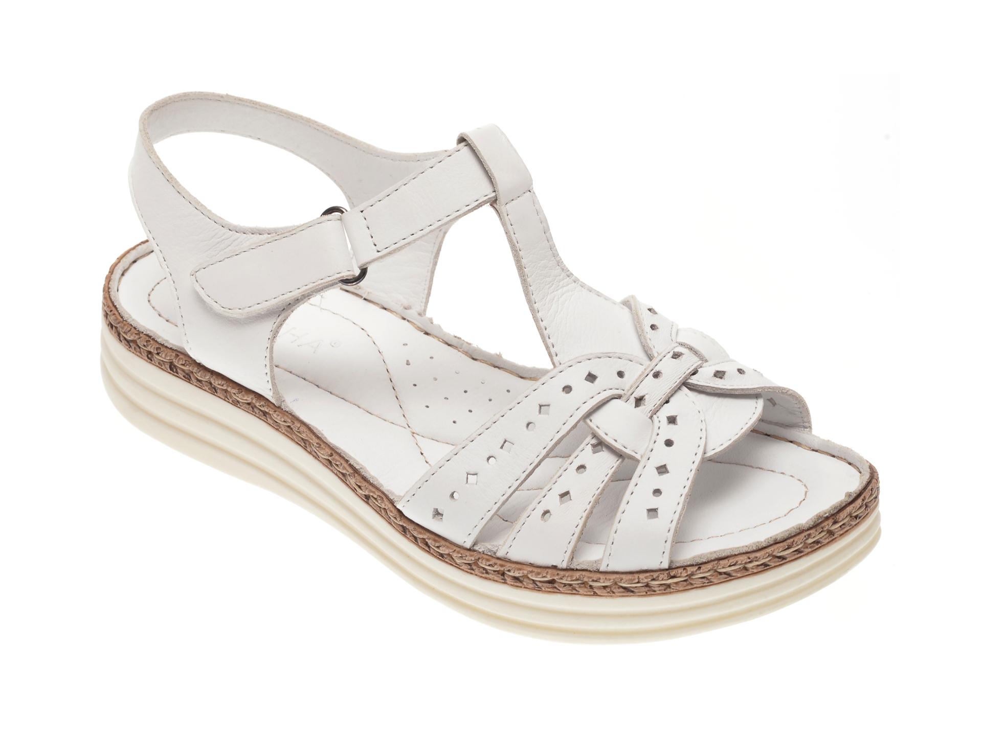 Sandale MARCHA albe, 517, din piele naturala