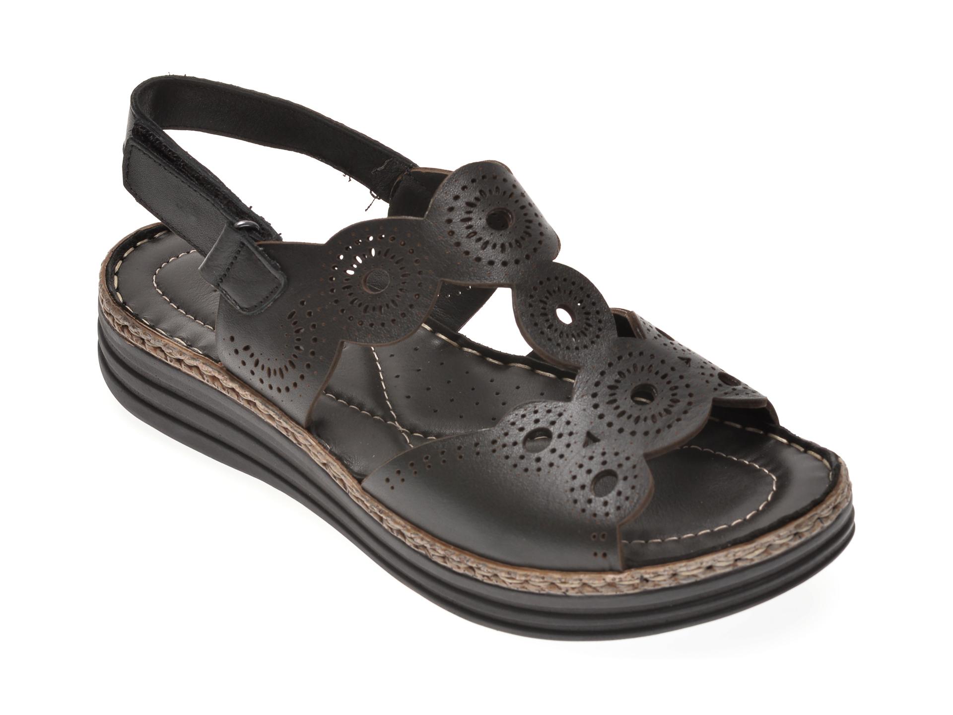 Sandale MARCHA negre, 541, din piele naturala New