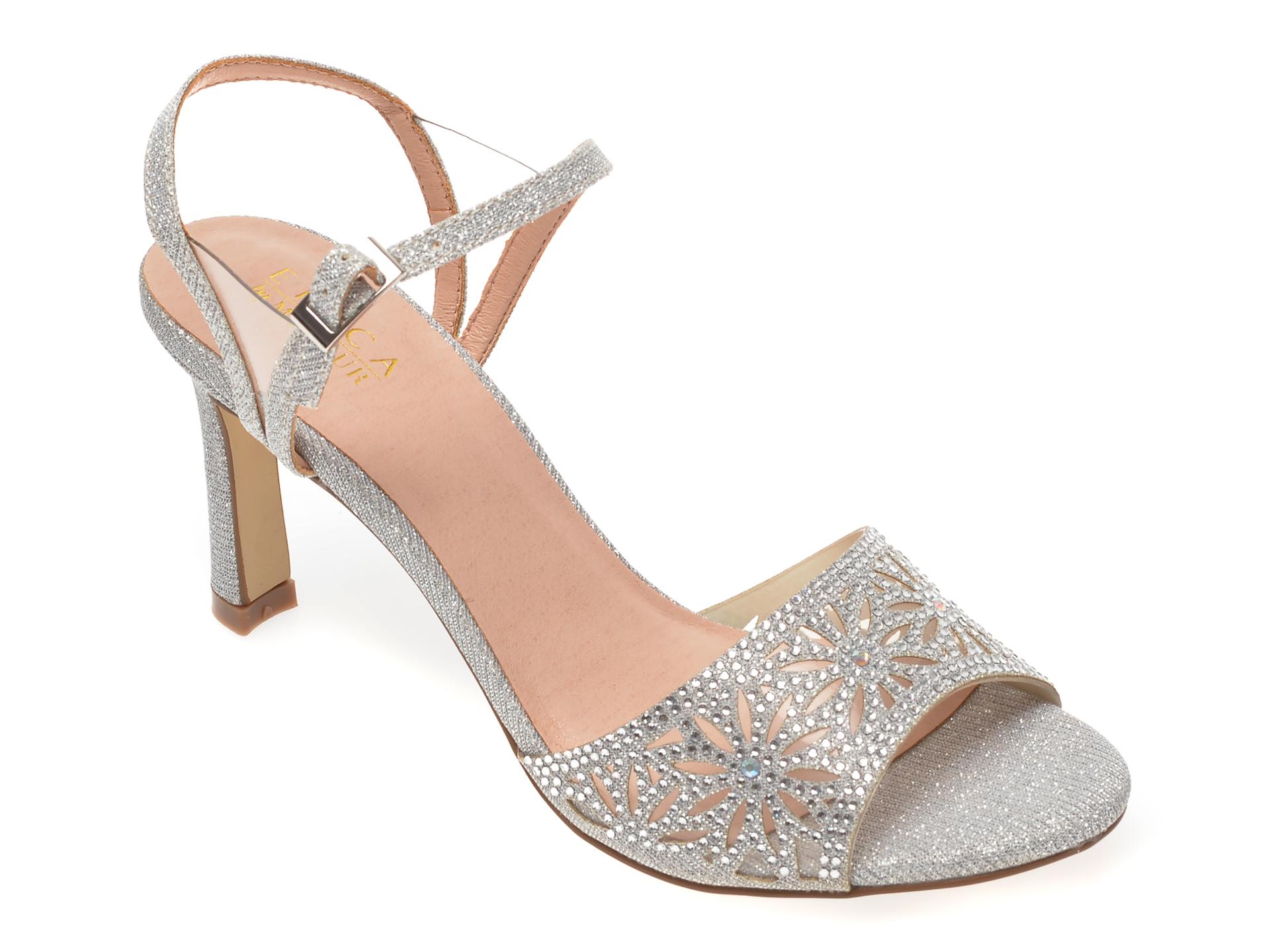 Sandale MENBUR argintii, 21586, din material textil imagine