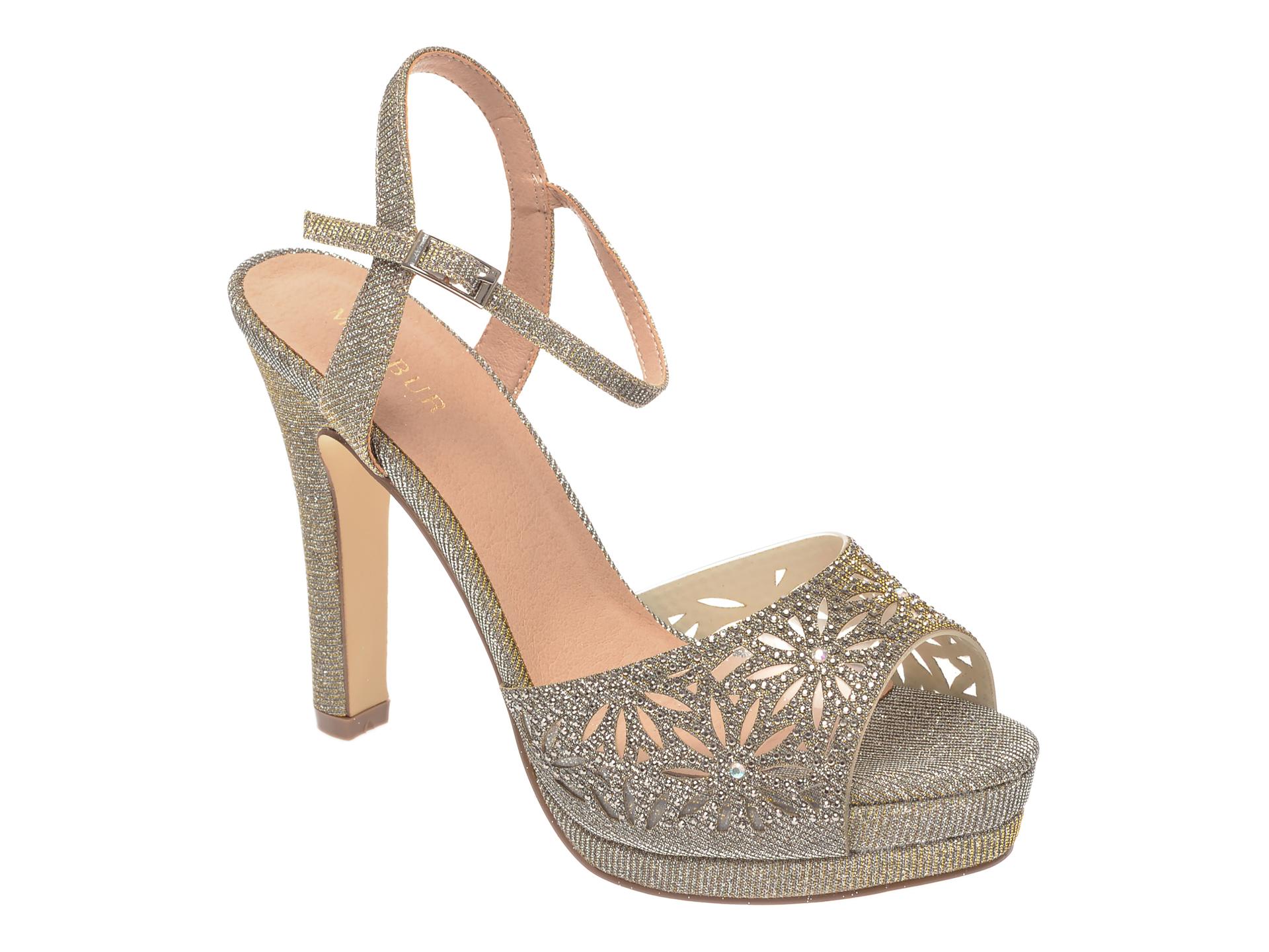 Sandale MENBUR aurii 21797, din piele ecologica New
