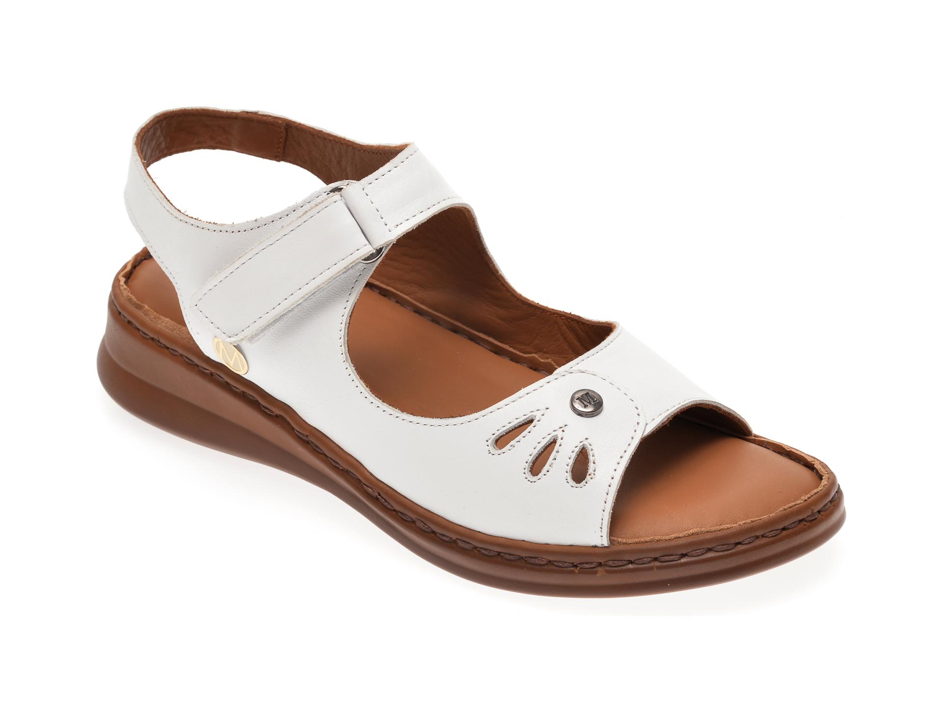 Sandale MESSIMODA albe, 20Y3564, din piele naturala