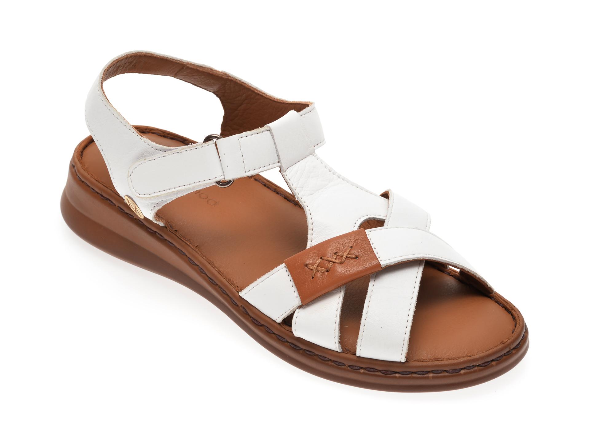 Sandale MESSIMODA albe, 20Y3574, din piele naturala imagine