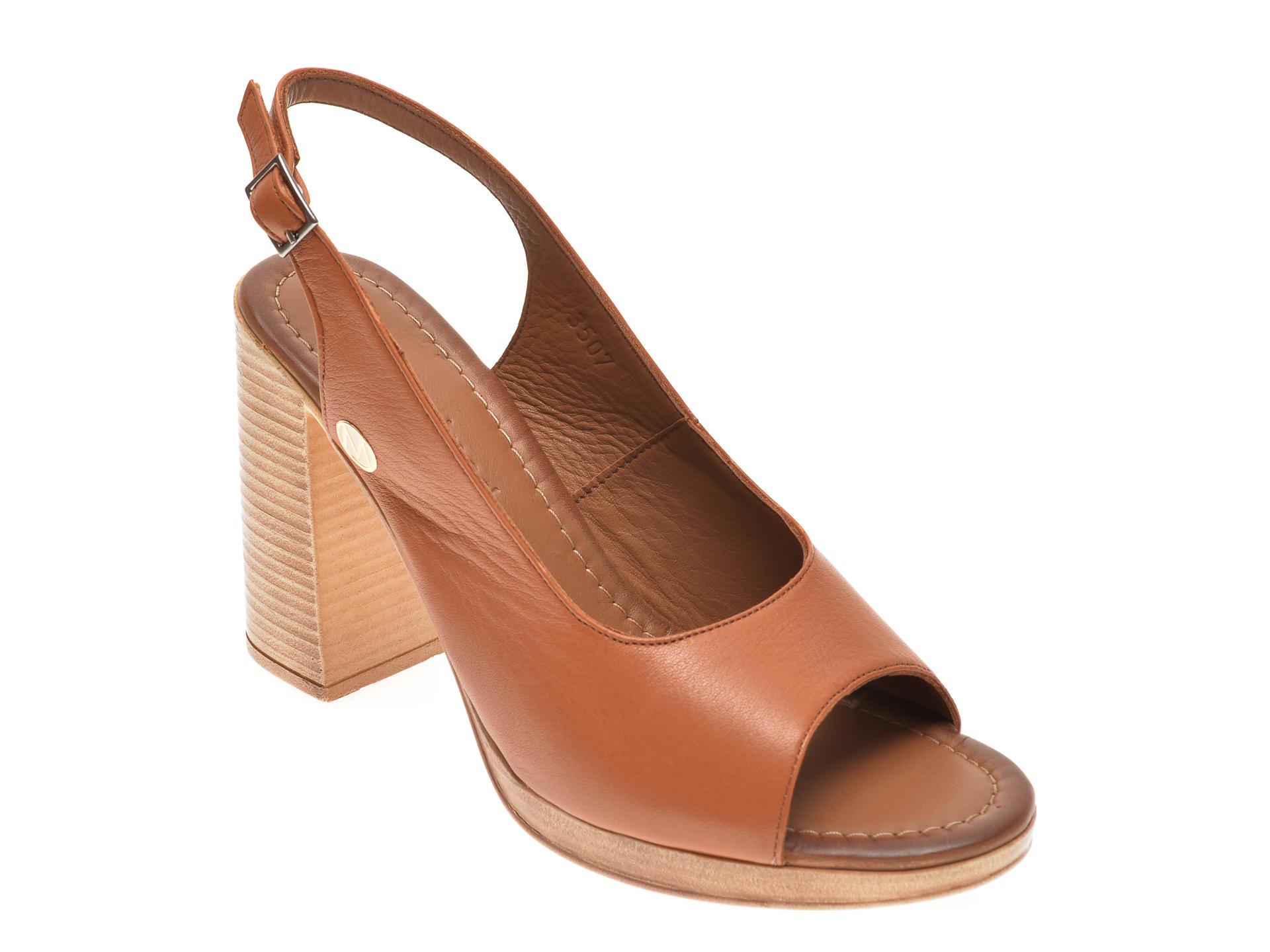 Sandale MESSIMODA maro, 20Y3507, din piele naturala New