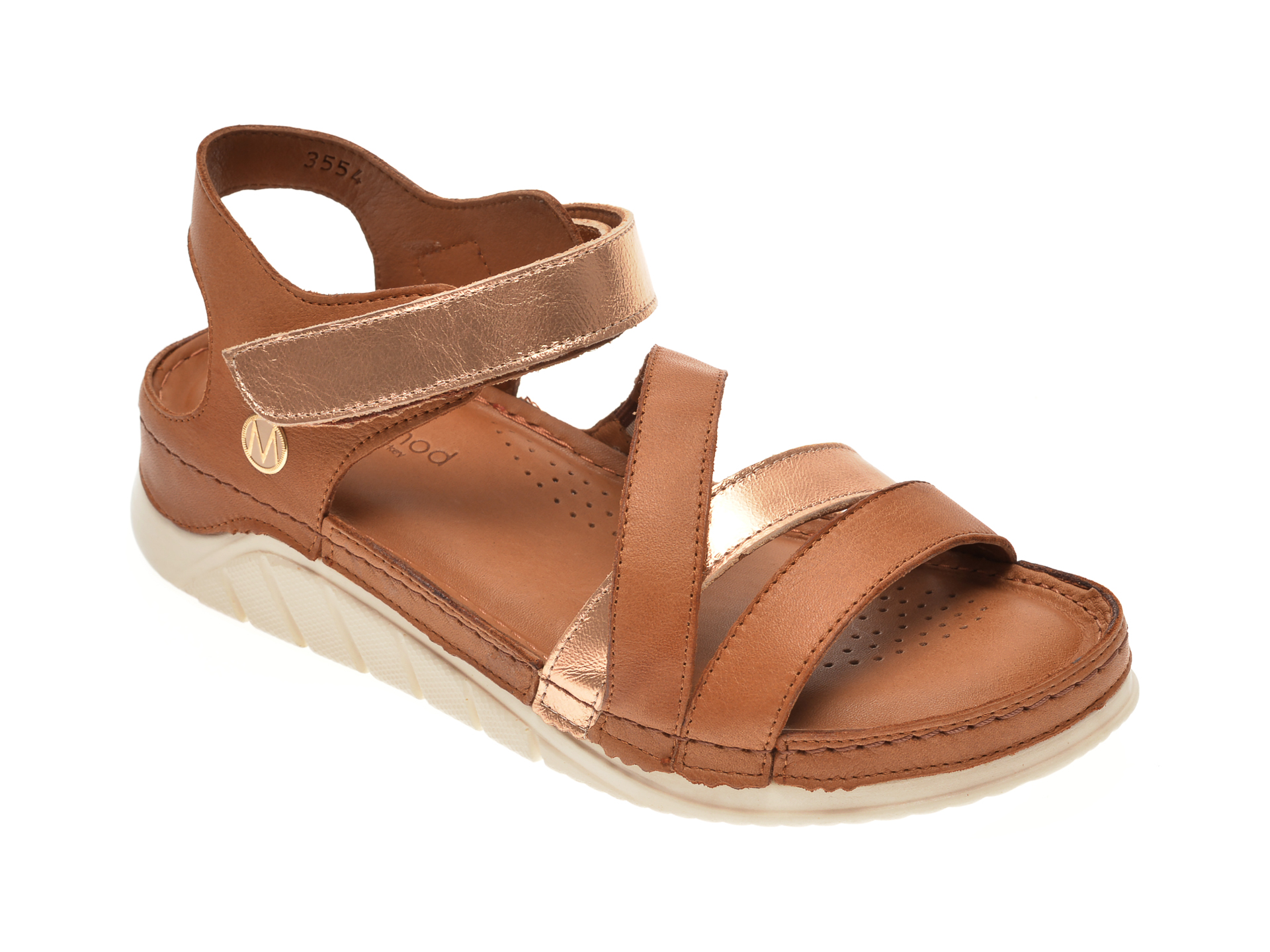Sandale MESSIMODA maro, 20Y3554, din piele naturala