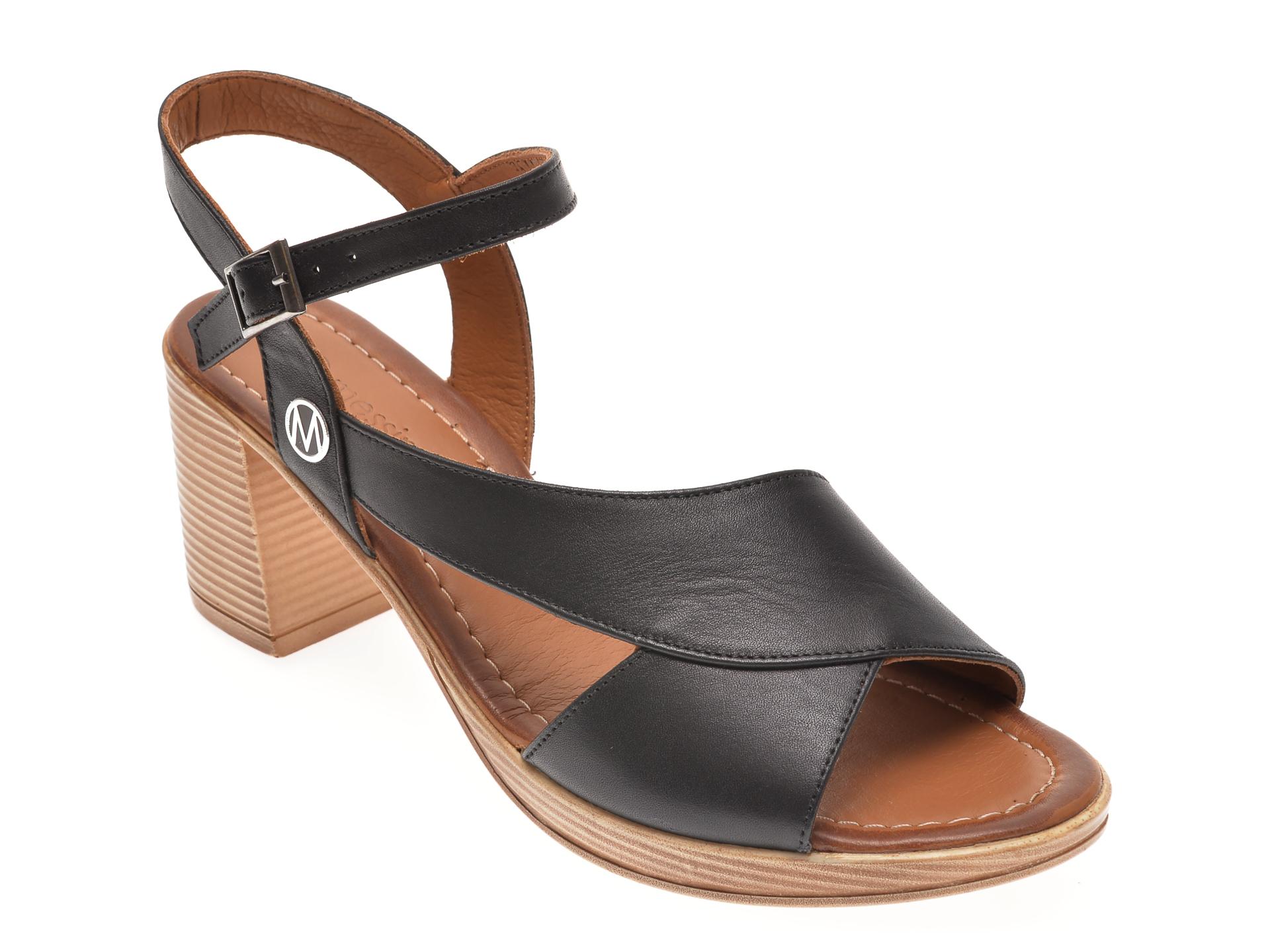 Sandale MESSIMODA negre, 20Y3500, din piele naturala