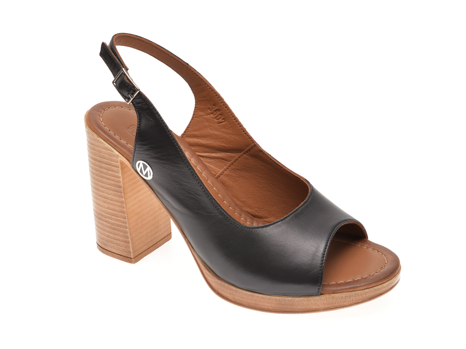 Sandale MESSIMODA negre, 20Y3507, din piele naturala