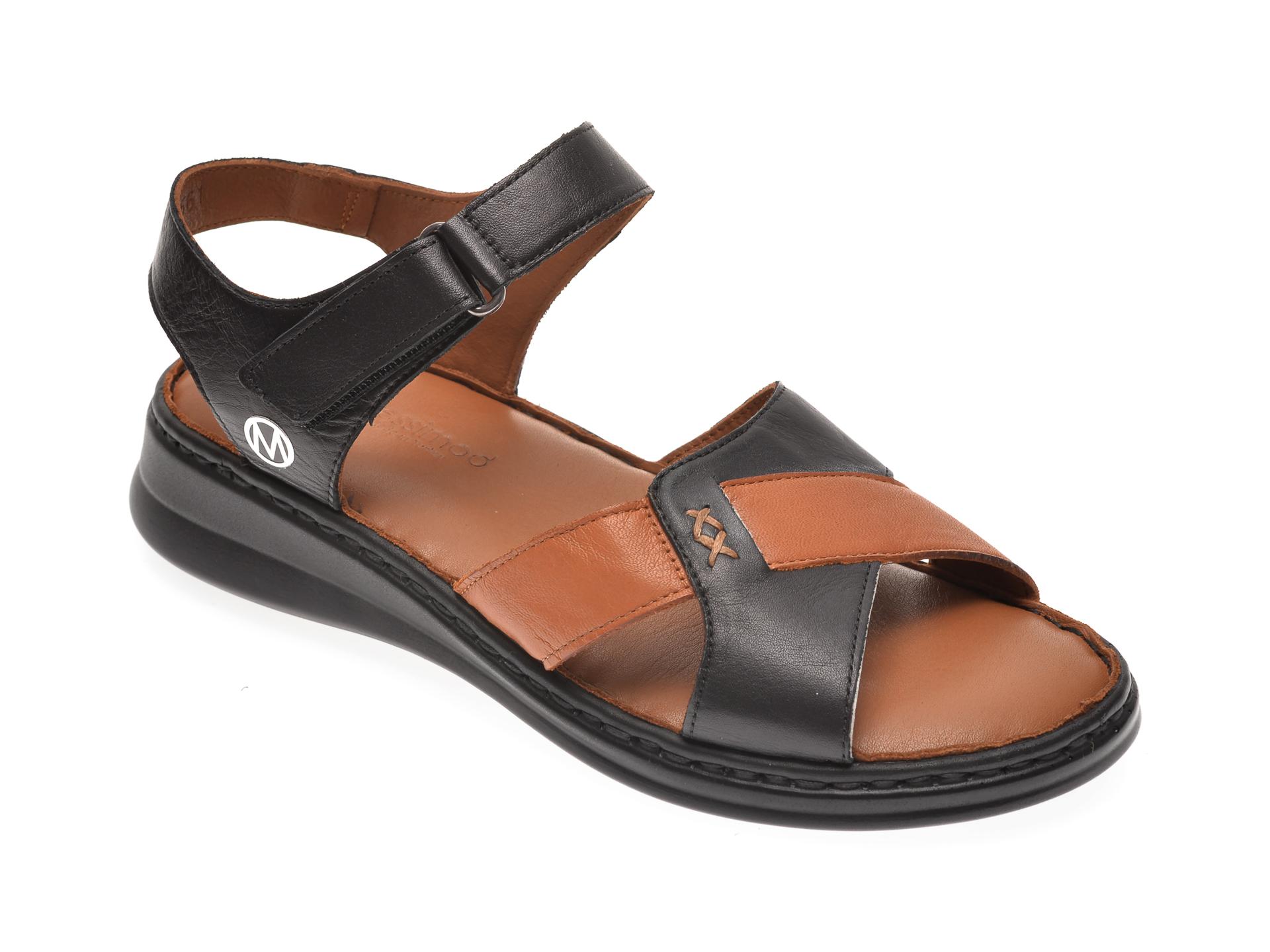 Sandale MESSIMODA negre, 20Y3561, din piele naturala
