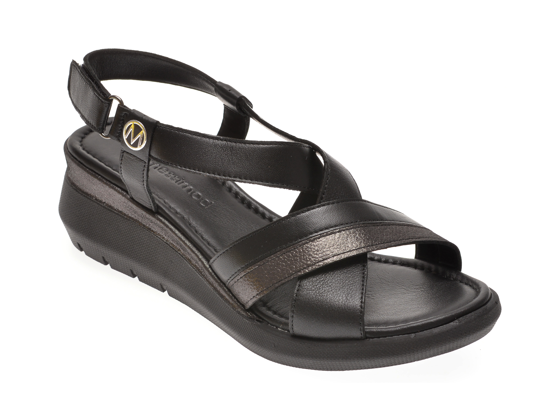 Sandale MESSIMODA negre, 20Y3939, din piele naturala imagine
