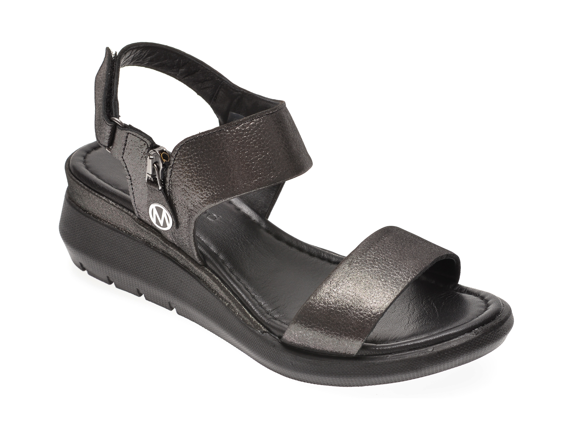 Sandale MESSIMODA negre, 20Y3941, din piele naturala