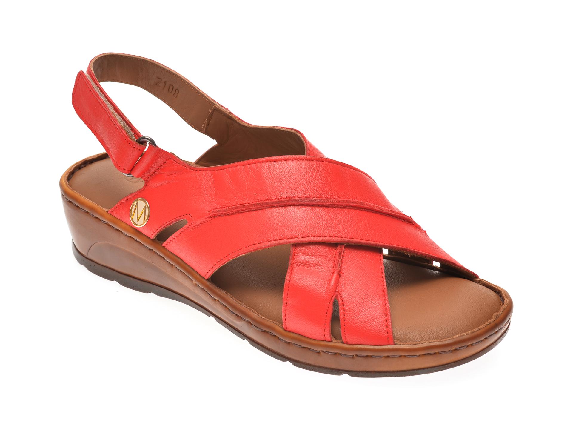 Sandale MESSIMODA rosii, 20Y2108, din piele naturala