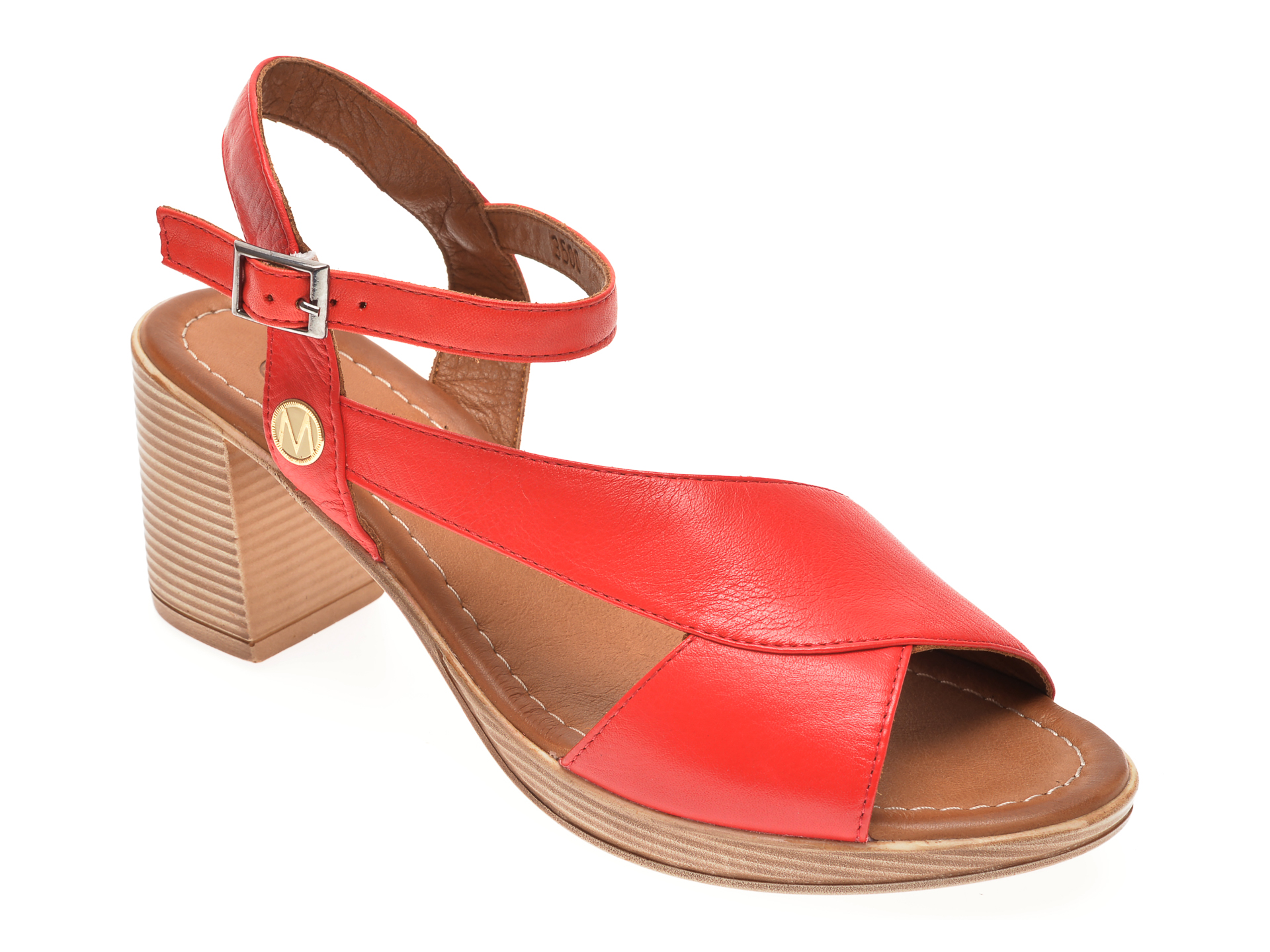 Sandale MESSIMODA rosii, 20Y3500, din piele naturala