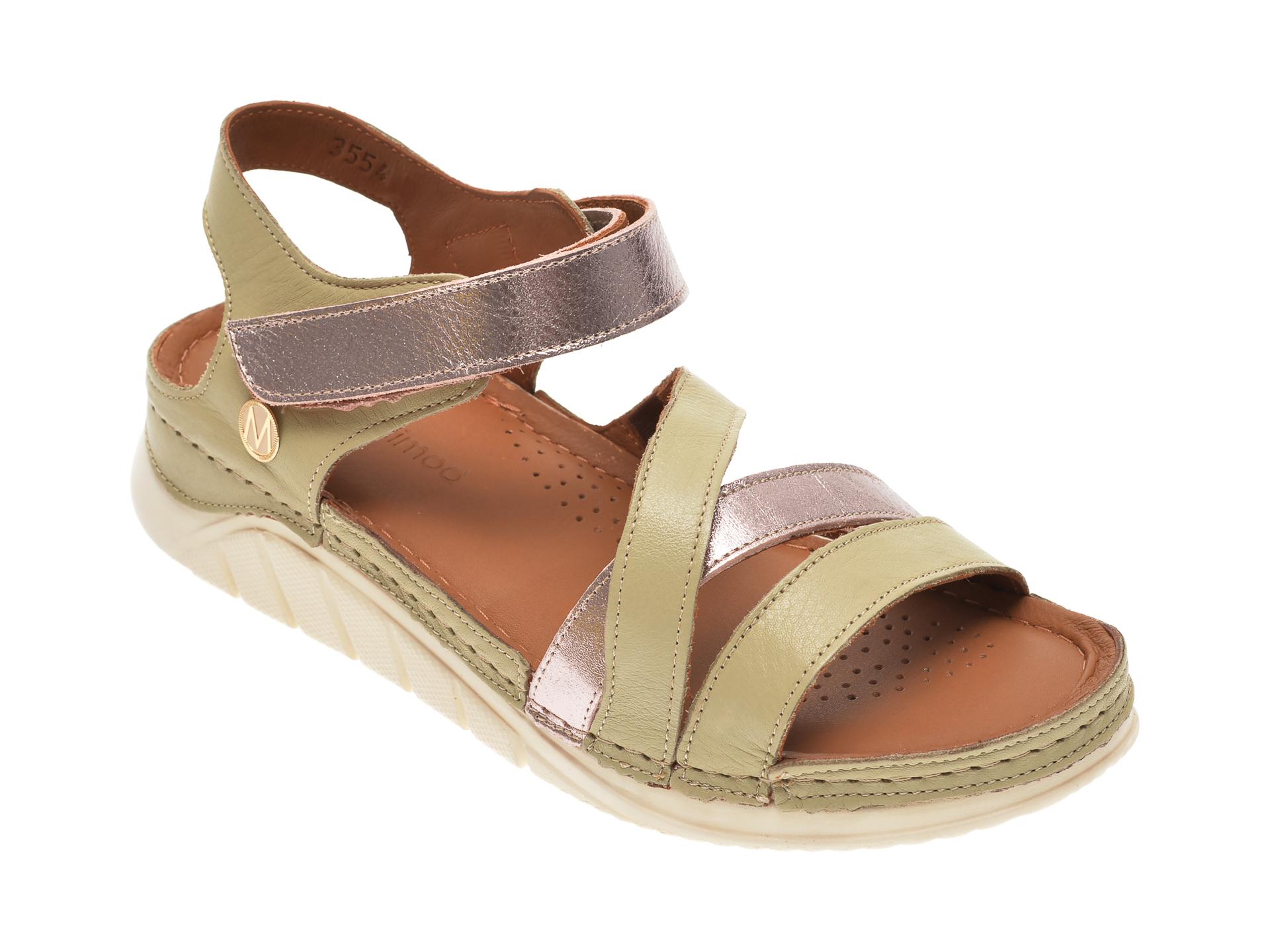 Sandale MESSIMODA verzi, 20Y3554, din piele naturala