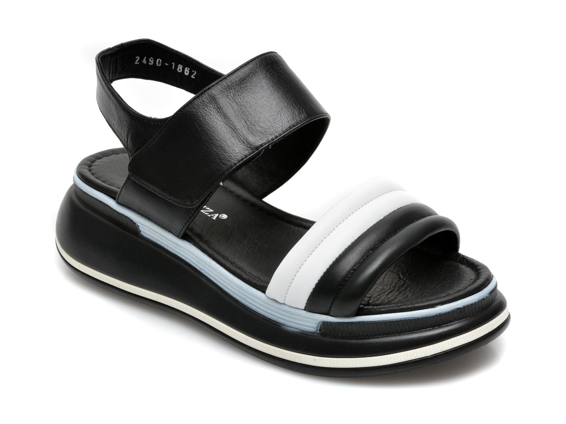 Sandale MISS LIZA alb-negru, 2490, din piele naturala
