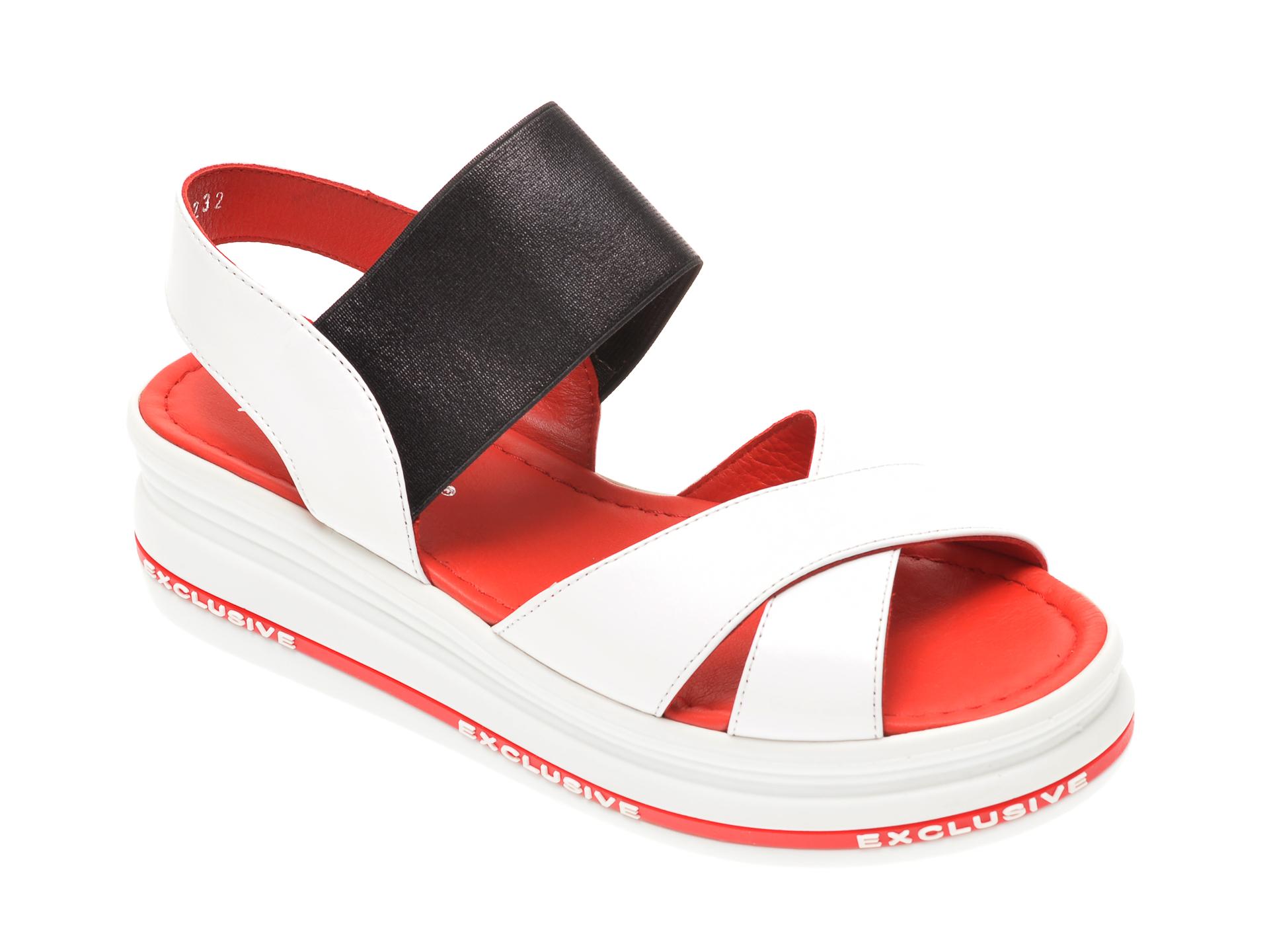 Sandale MISS LIZA albe, 1182303, din piele naturala