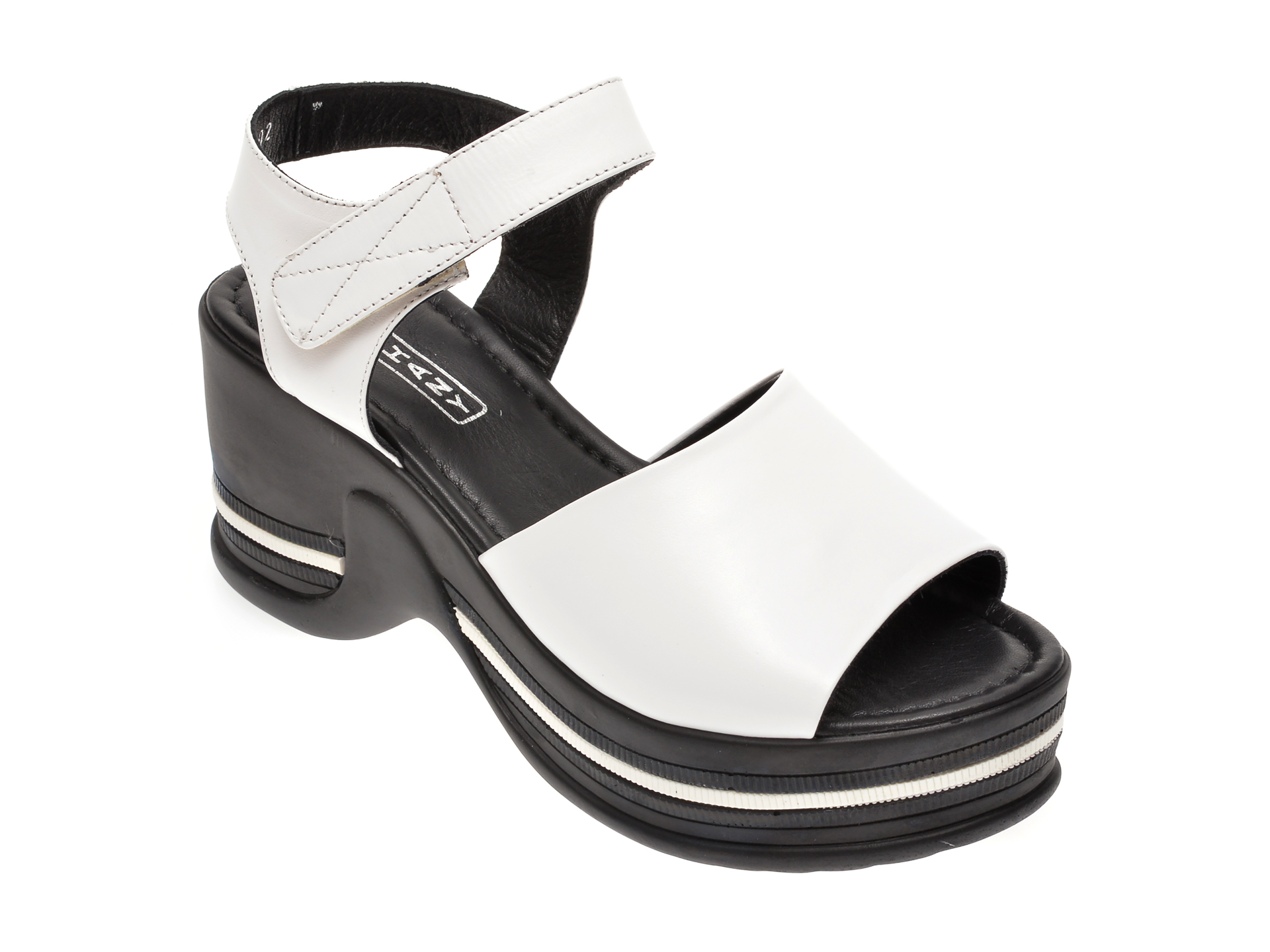Sandale MISS LIZA albe, 1182451, din piele naturala