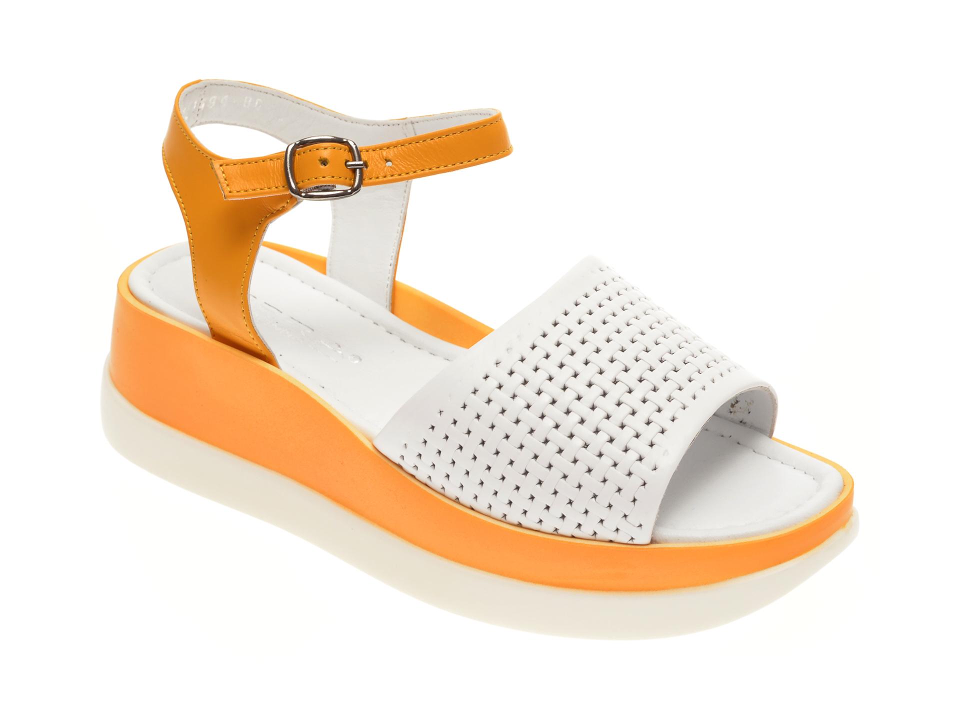 Sandale MISS LIZA albe, 1182488, din piele naturala New