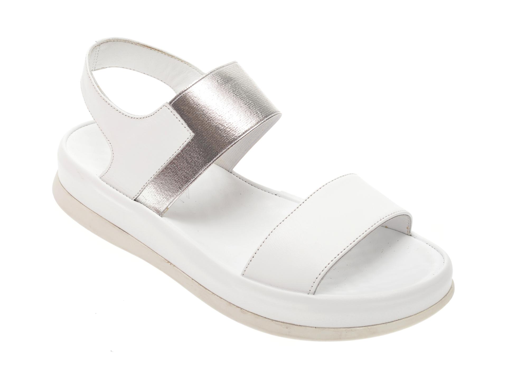 Sandale MISS LIZA albe, 118PD02, din piele naturala