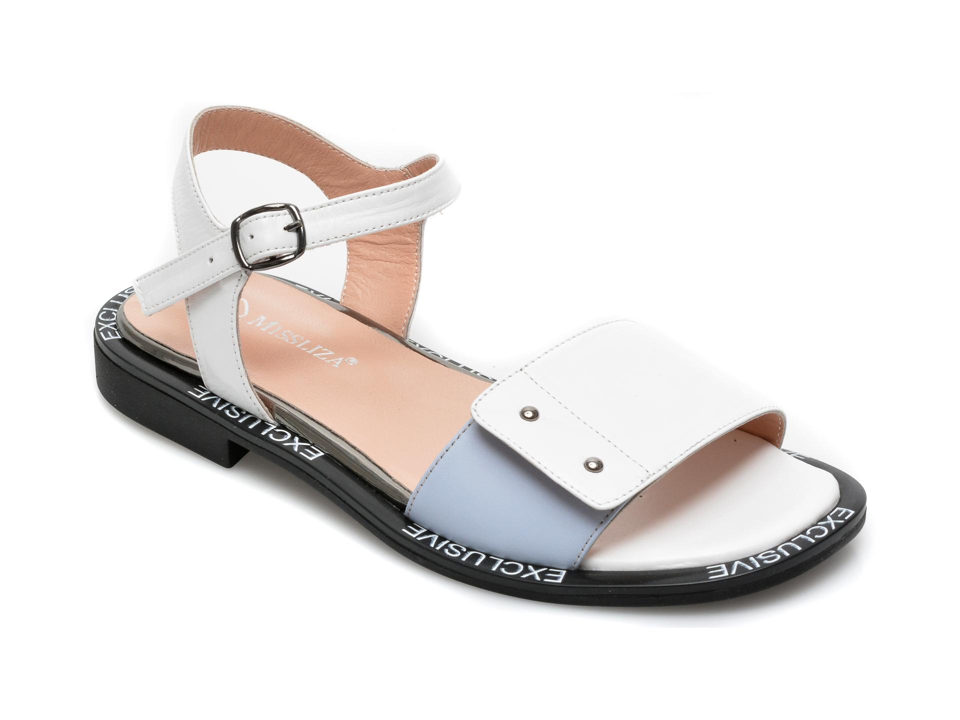 Sandale MISS LIZA albe, 2493BM, din piele naturala