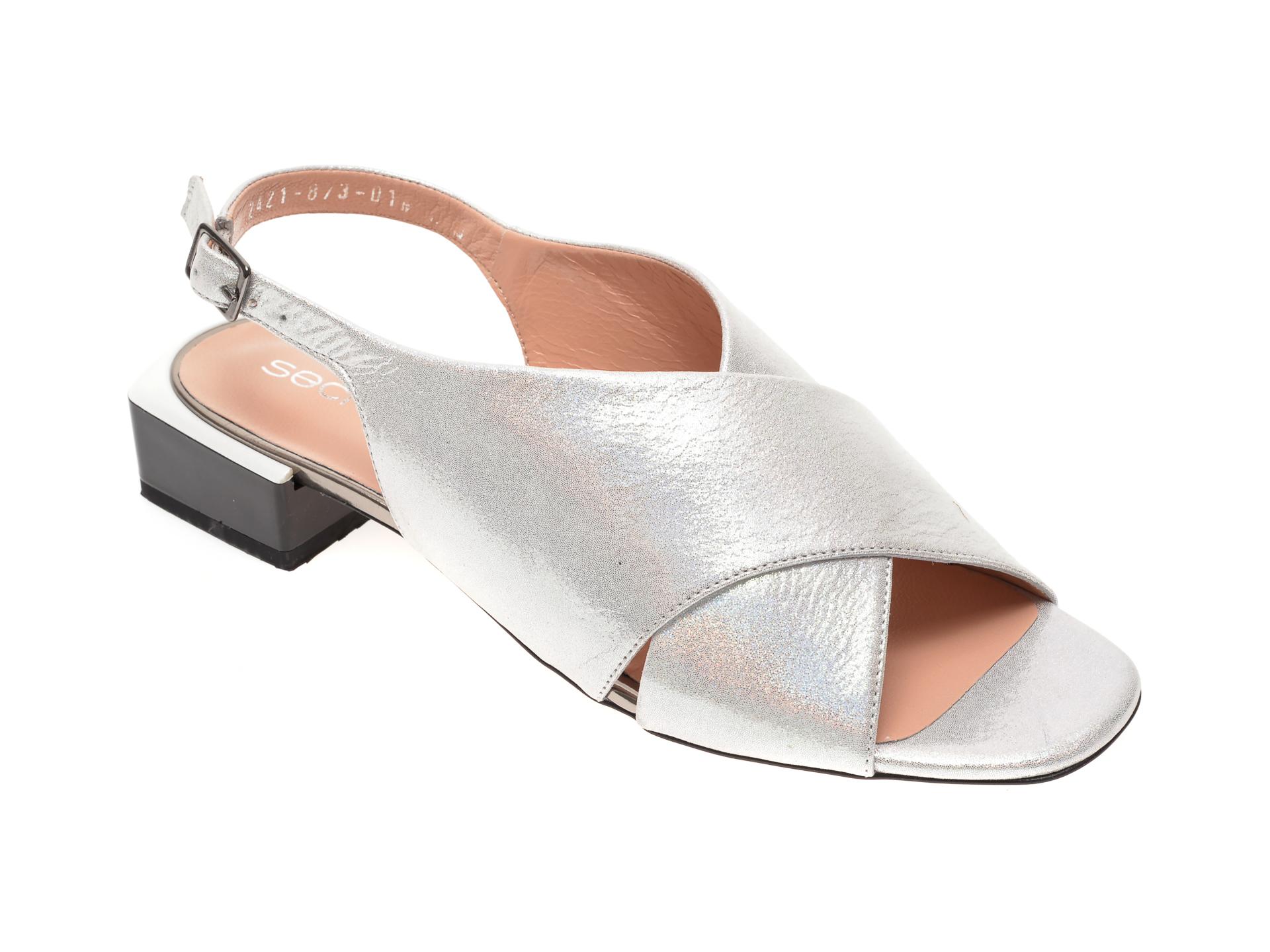 Sandale MISS LIZA argintii 1182421, din piele naturala