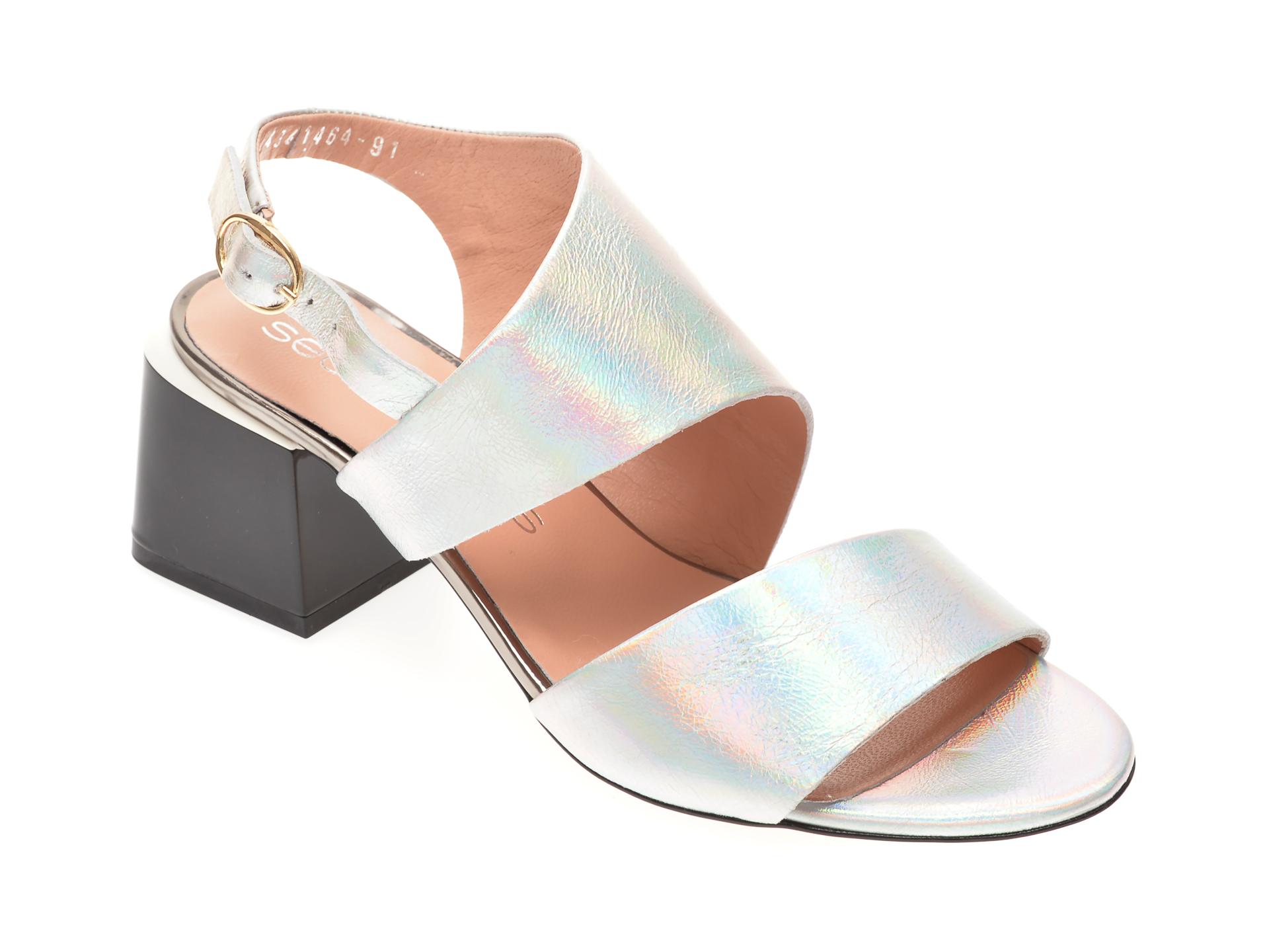 Sandale MISS LIZA argintii, 1182434, din piele naturala lacuita