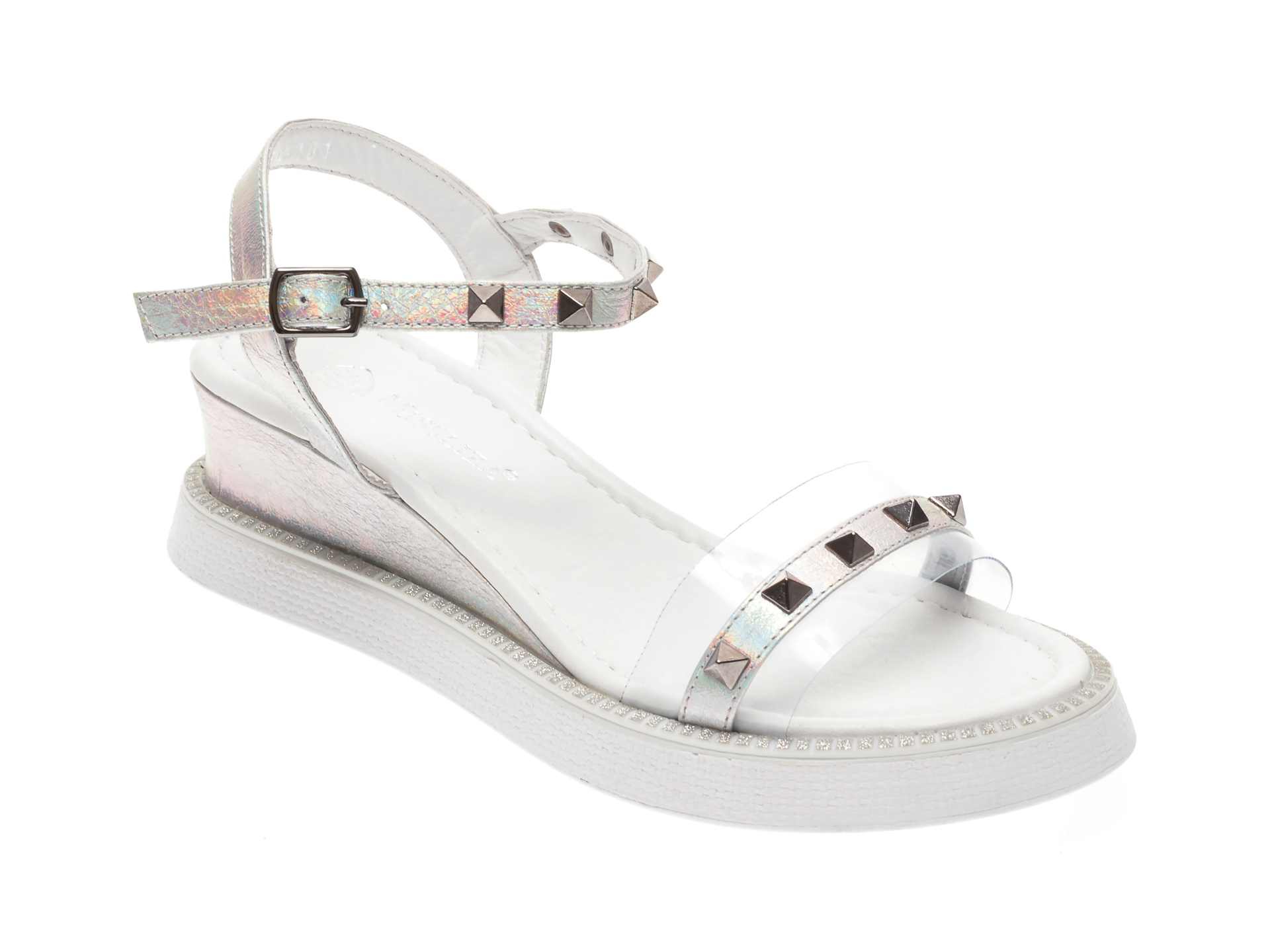 Sandale MISS LIZA argintii, 2620, din piele naturala lacuita