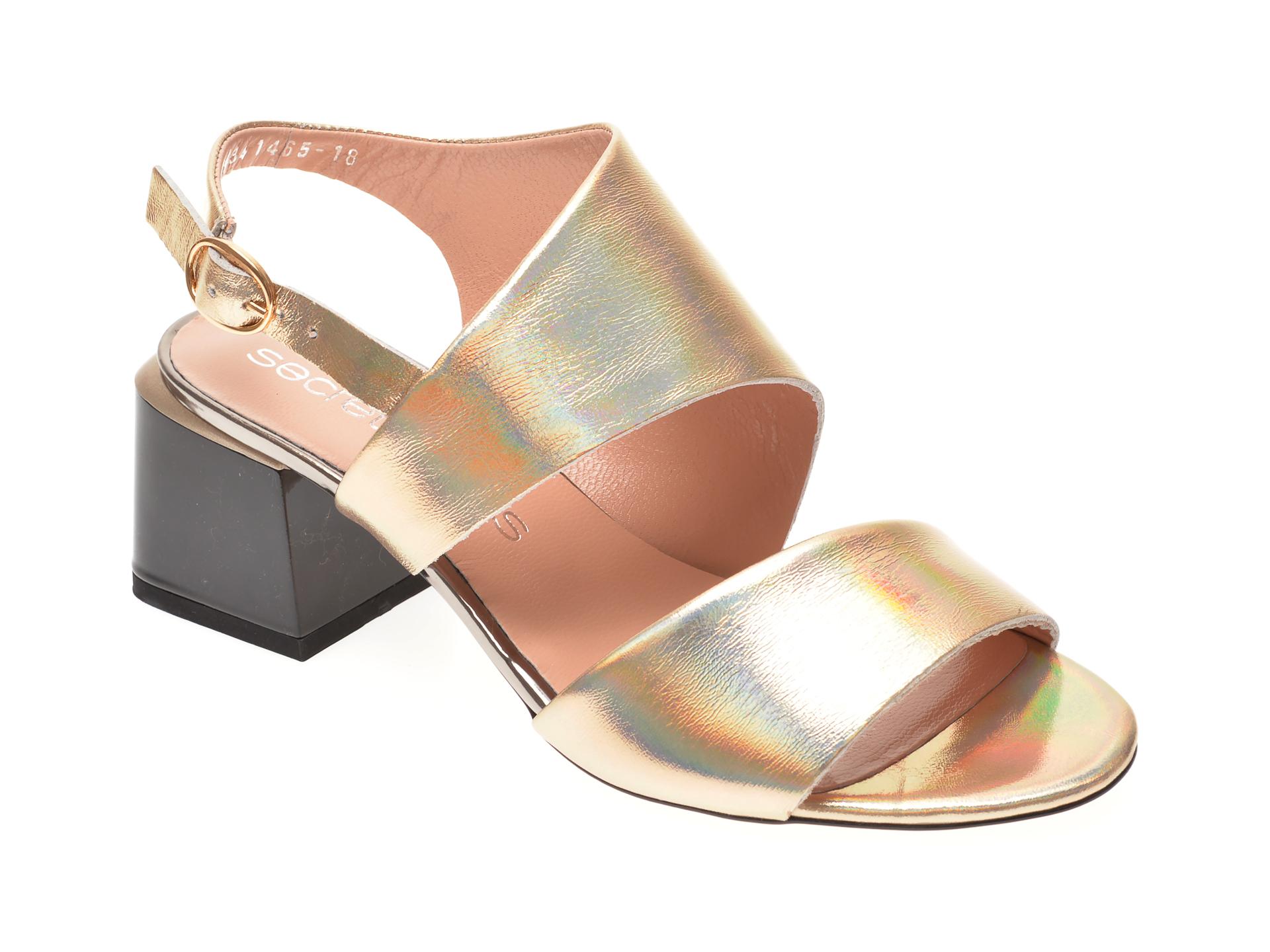 Sandale MISS LIZA aurii, 1182434, din piele naturala lacuita imagine