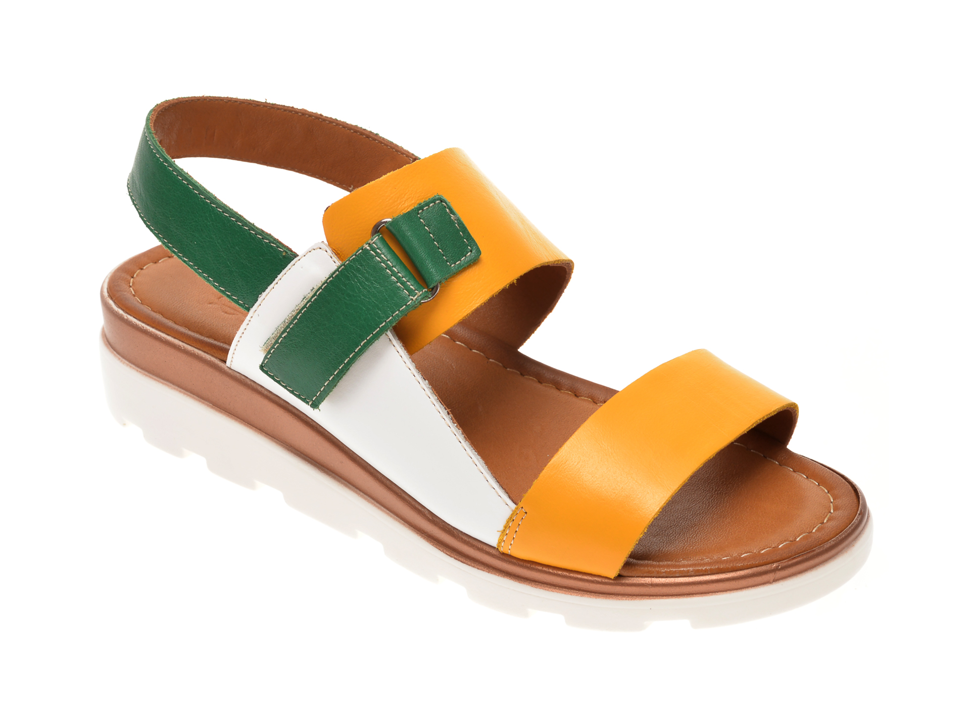 Sandale MISS LIZA galbene, 1182050, din piele naturala