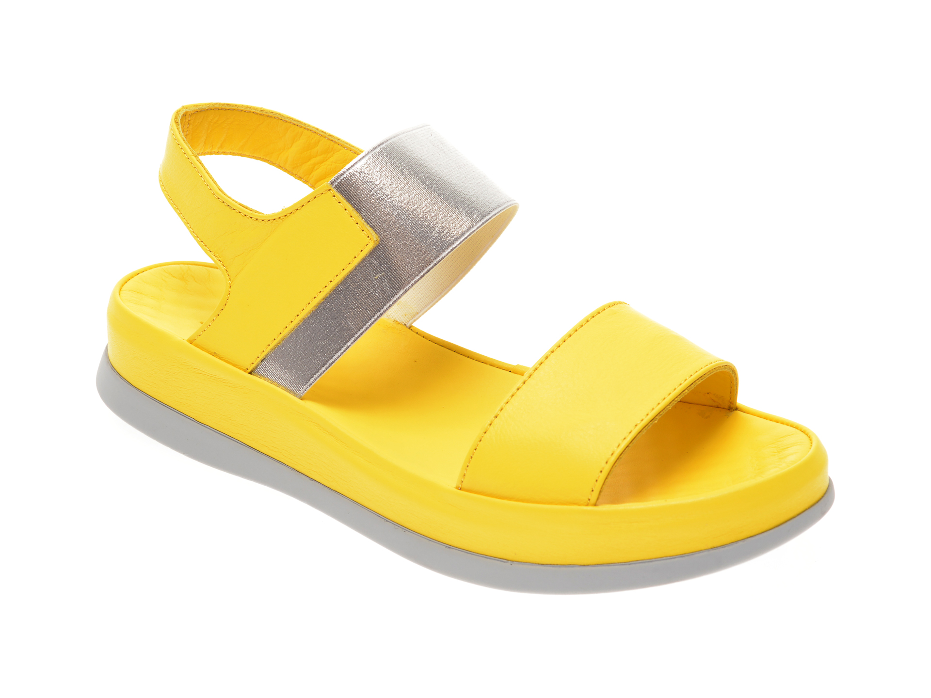 Sandale MISS LIZA galbene, 118PD02, din piele naturala