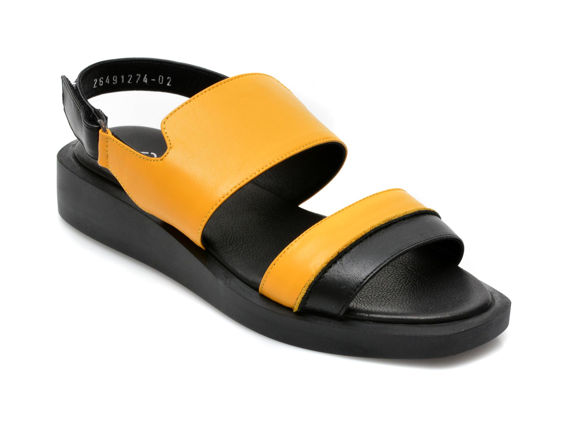 Sandale Miss Liza Galbene, 2649, Din Piele Naturala