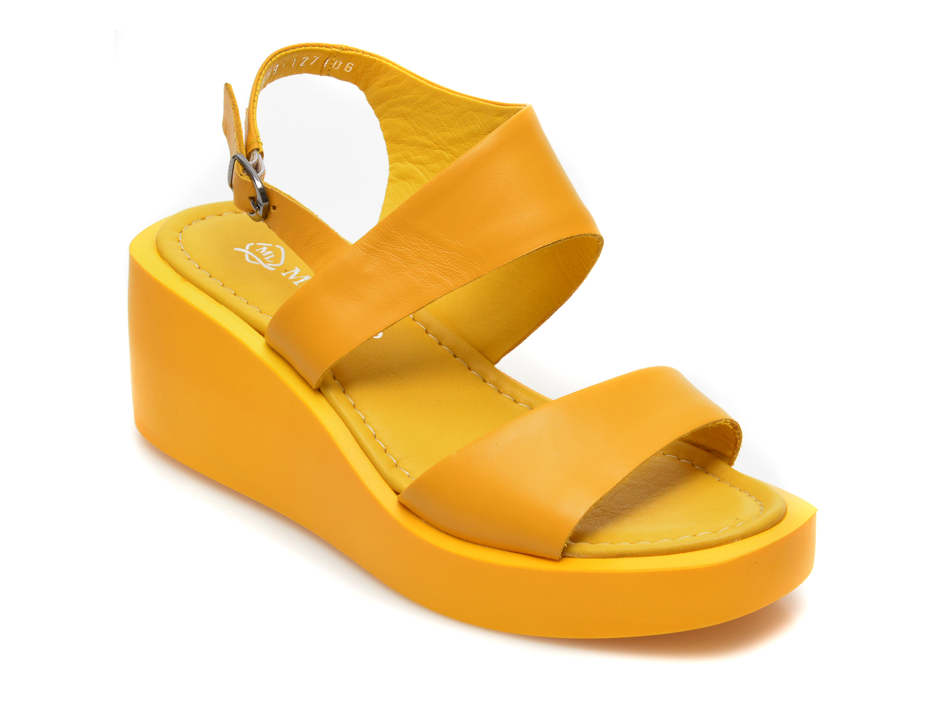 Sandale MISS LIZA galbene, 2689, din piele naturala imagine 2021 Miss Liza