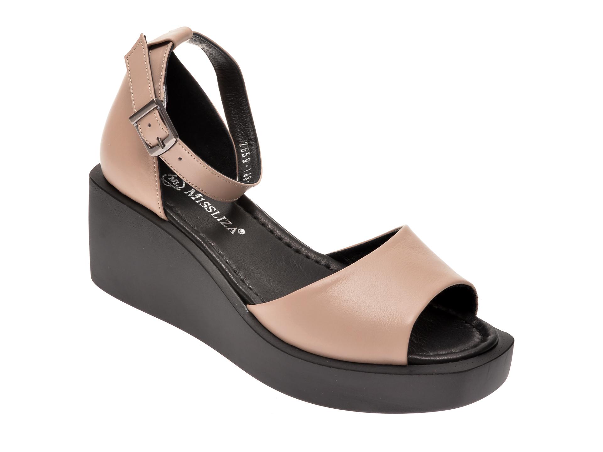 Sandale MISS LIZA gri, 1182659, din piele naturala imagine