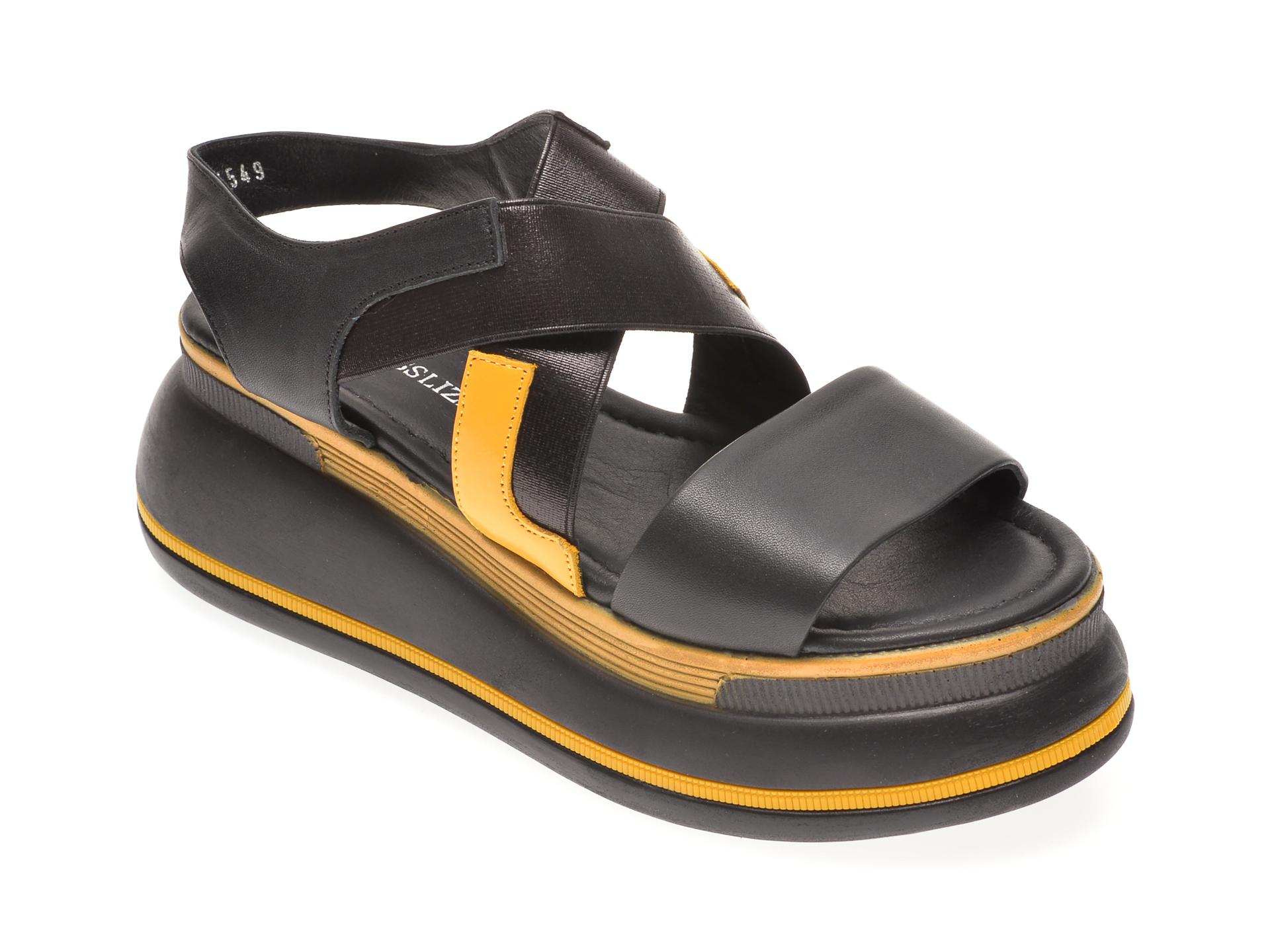 Sandale MISS LIZA negre, 1182561, din piele naturala