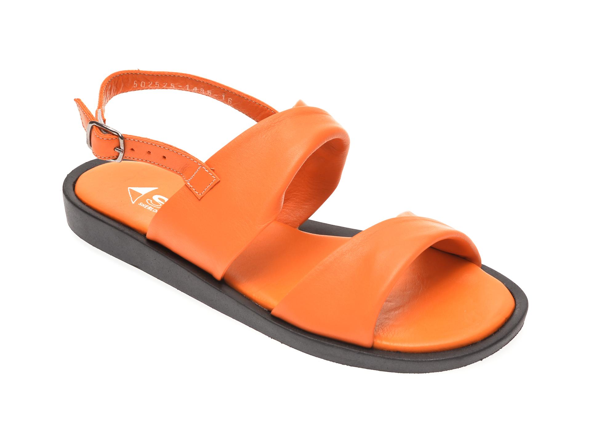 Sandale MISS LIZA portocalii, 1182525, din piele naturala
